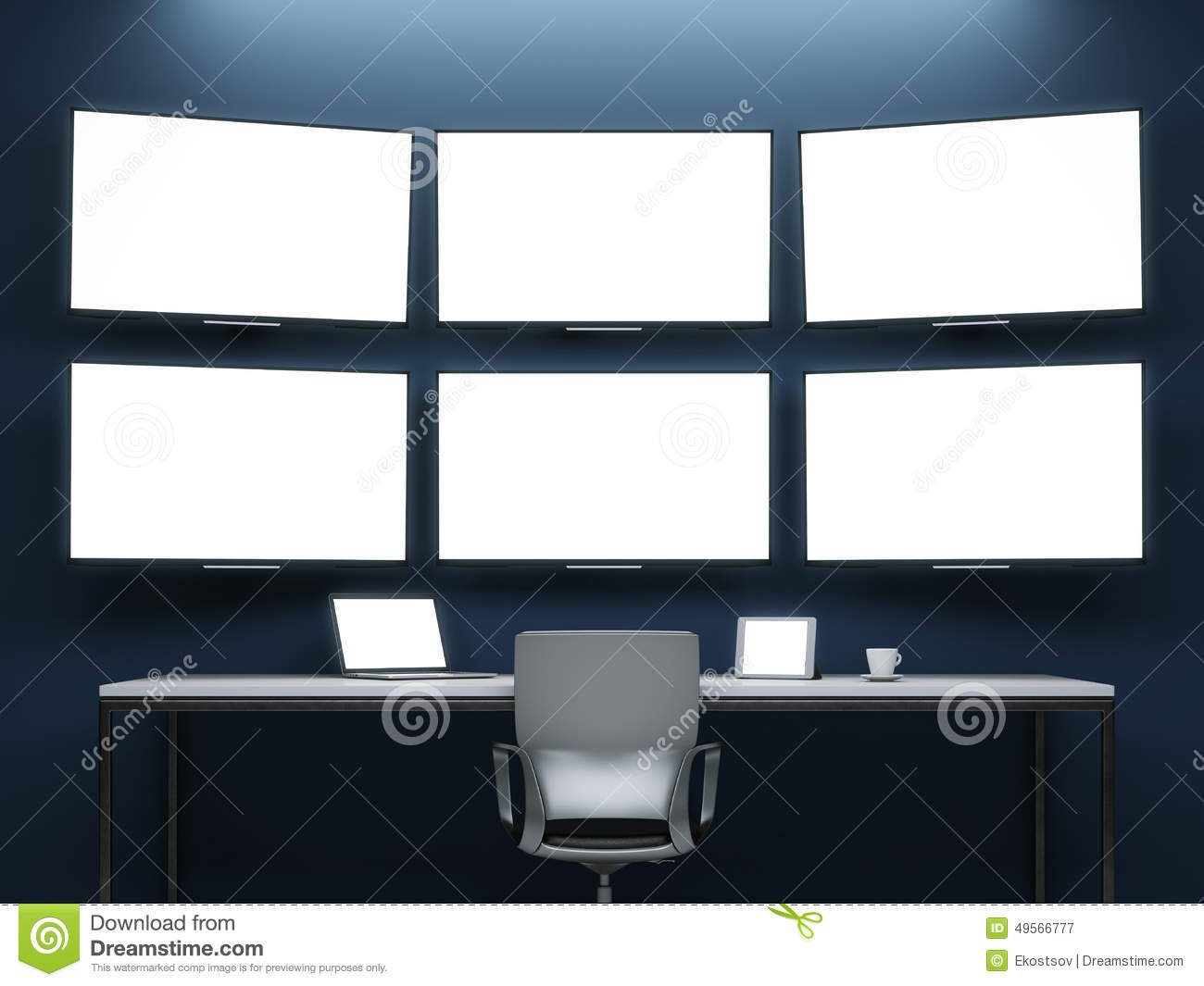 Dark room with video wall stock illustration image 49566777 for Lots of pictures on wall