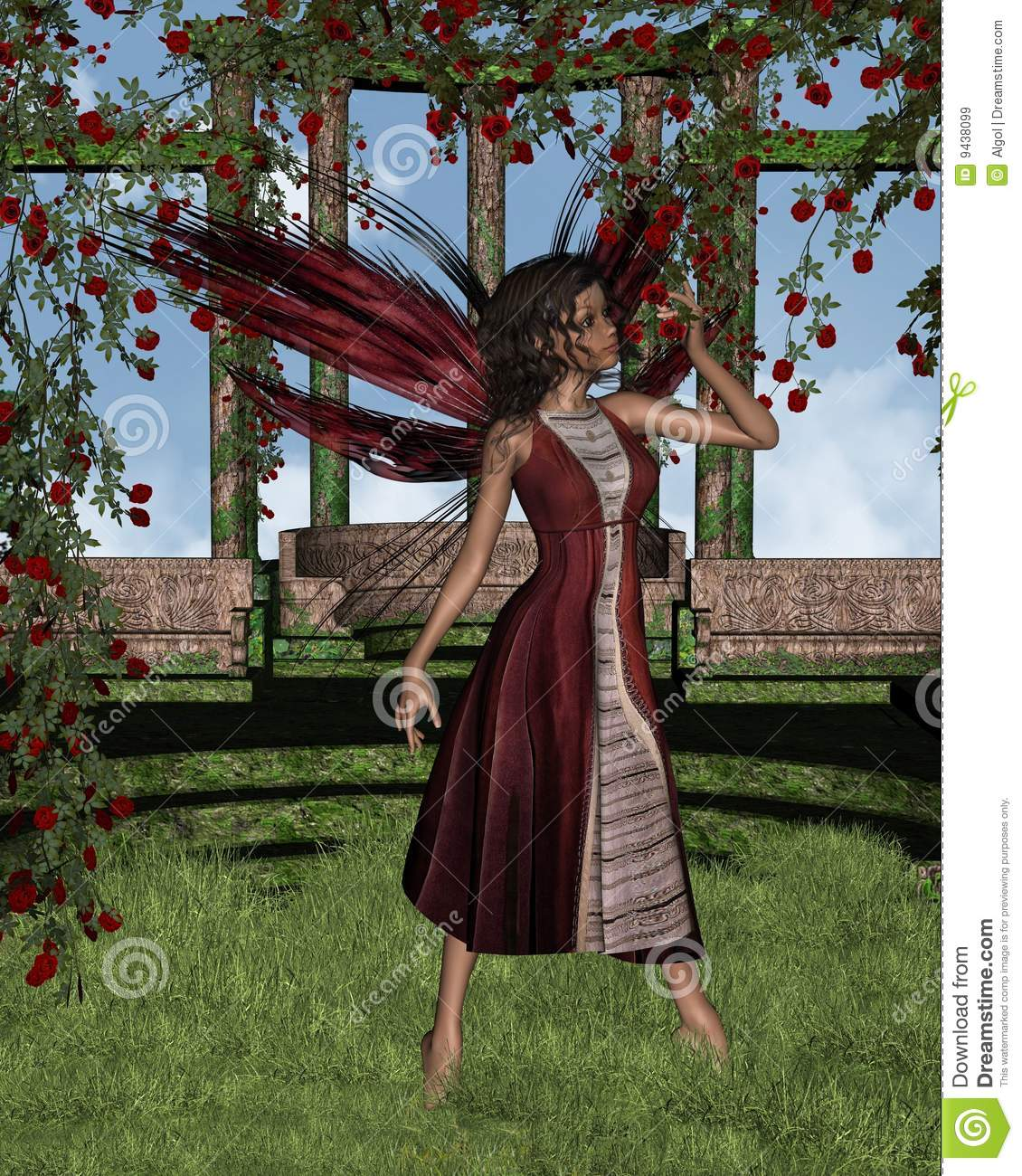 dark rose fairy with background royalty free stock images