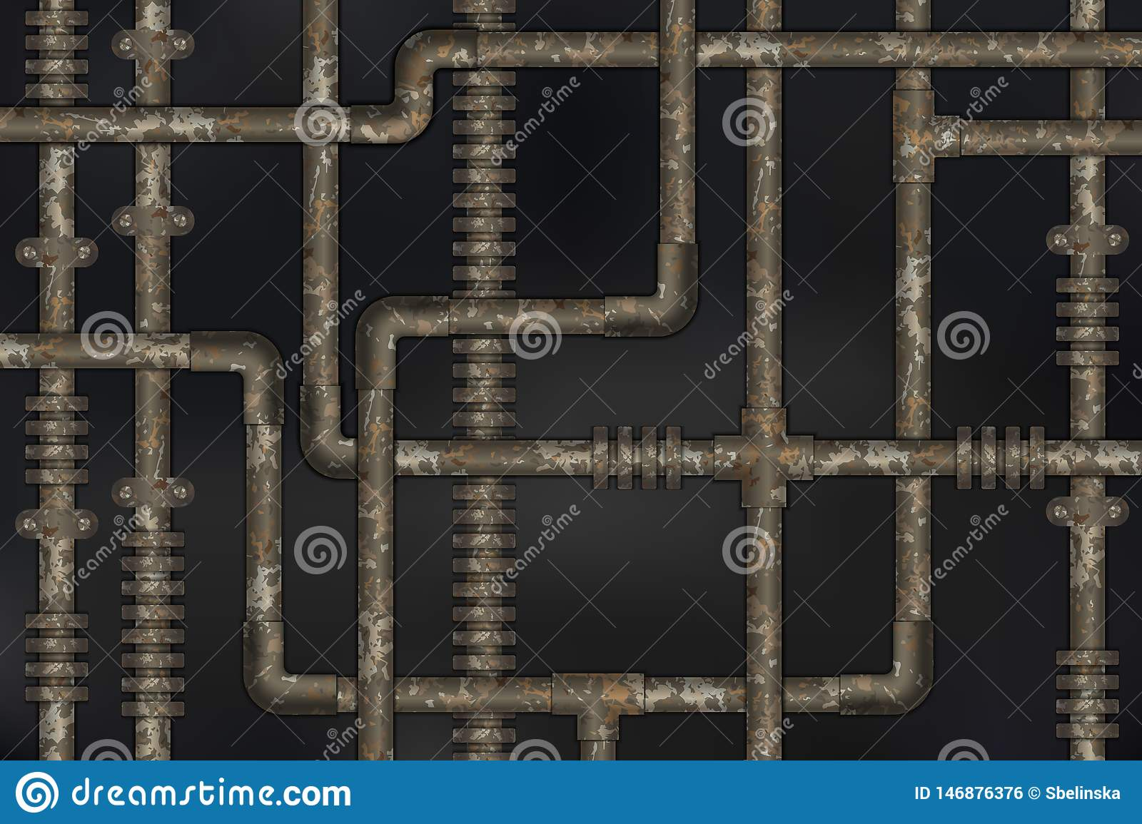 Dark and rusty pipes on the wall abstract industrial steampunk background