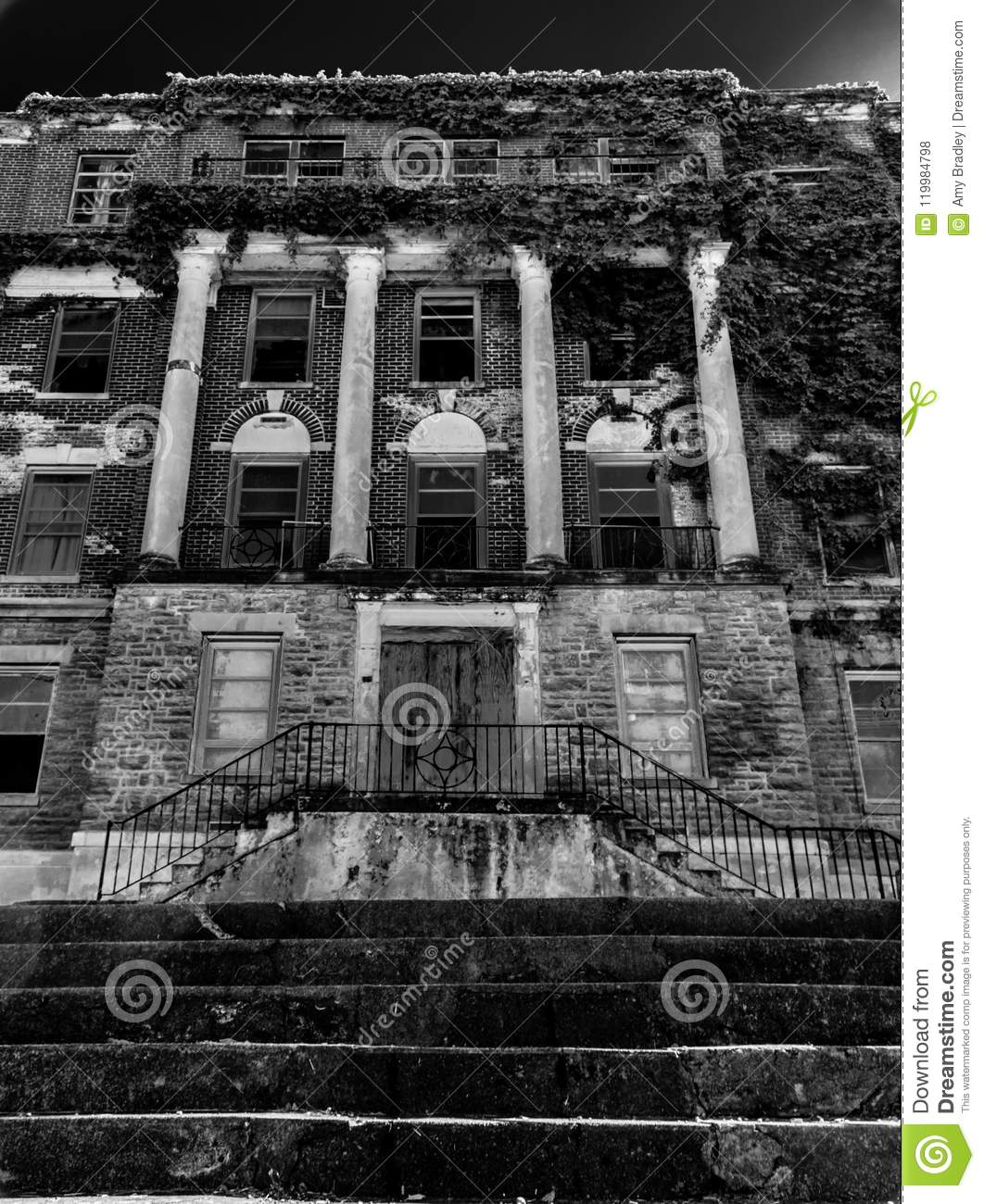 Vertical Creepy Abandoned Haunted Hospital Stock Photo