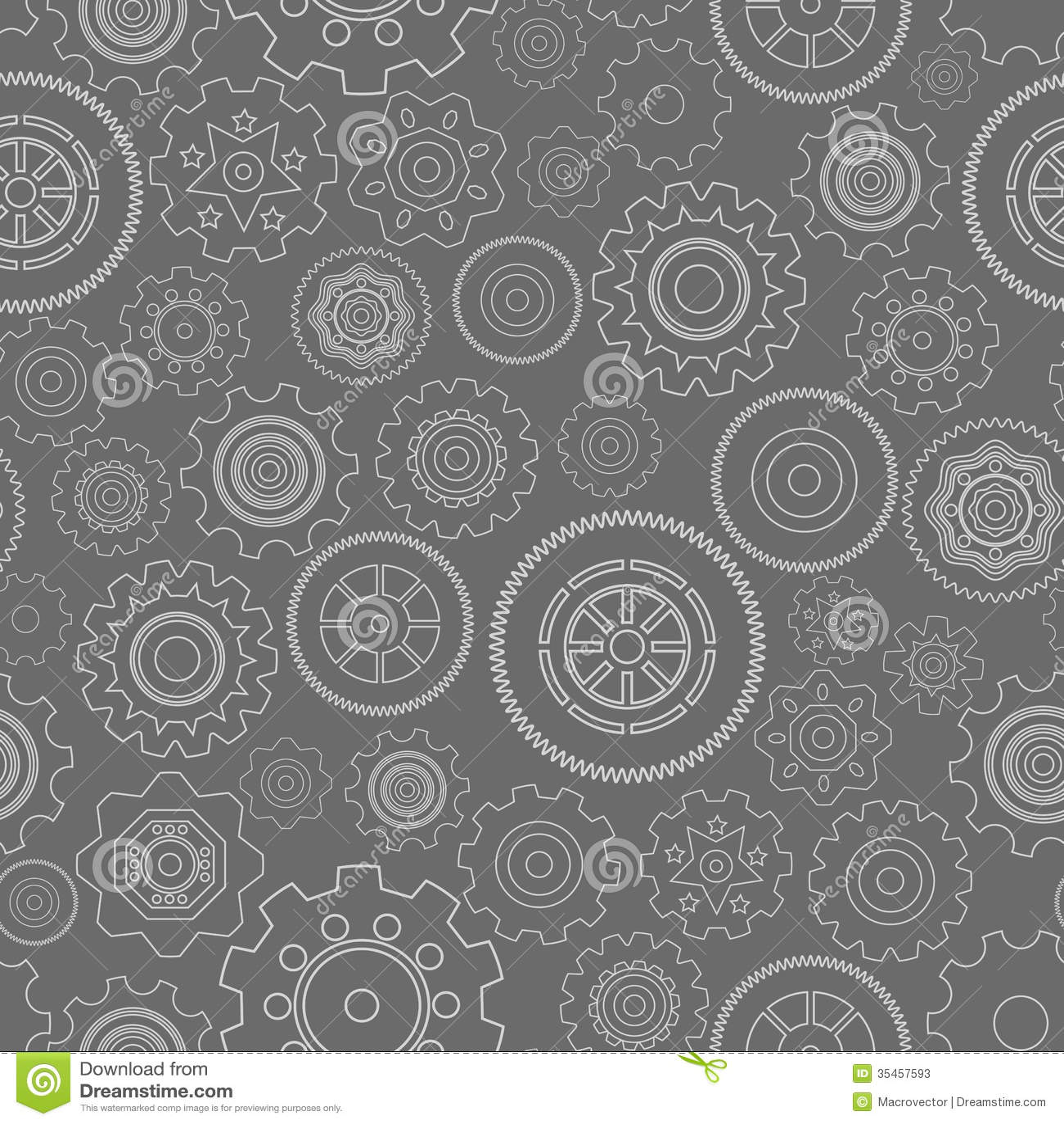 Dark Seamless Gear Wheels Pattern Background Vector Illustration Steampunk Cog Backgrounds