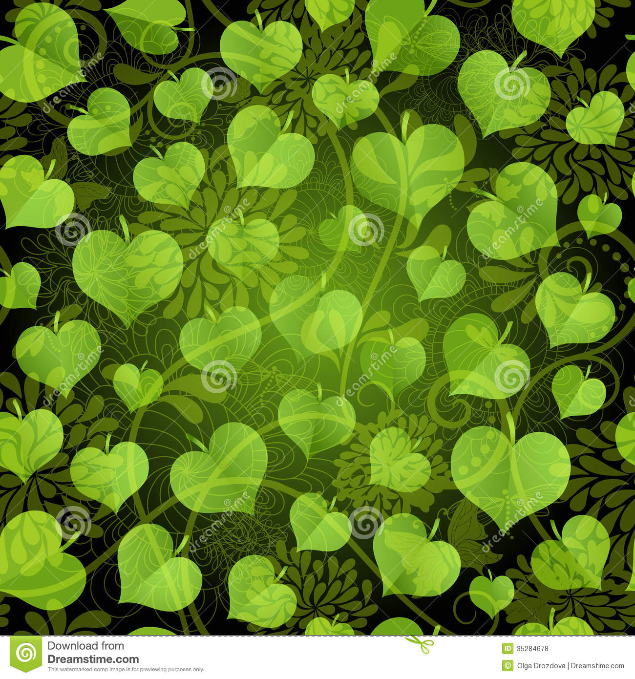 Dark Seamless Pattern With Green Leaves Royalty Free Stock ...