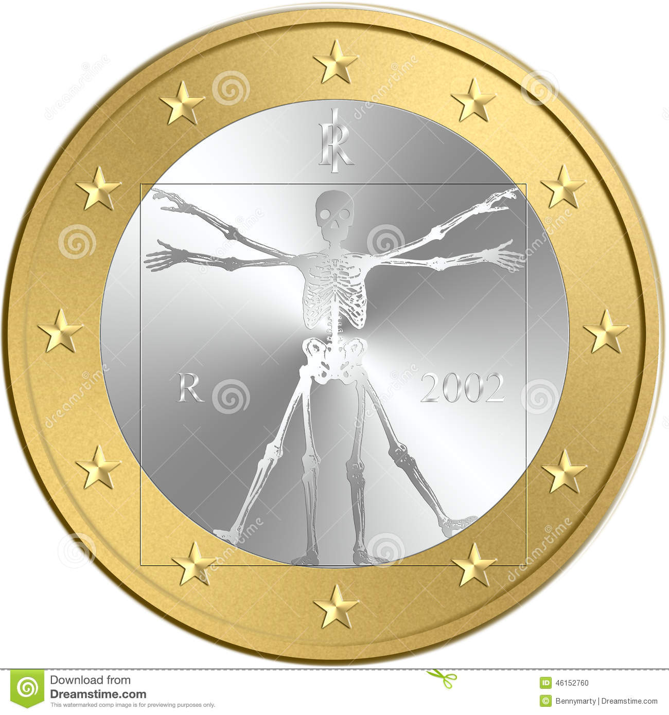Euro Coin Stock Illustration Illustration Of Failure 46152760