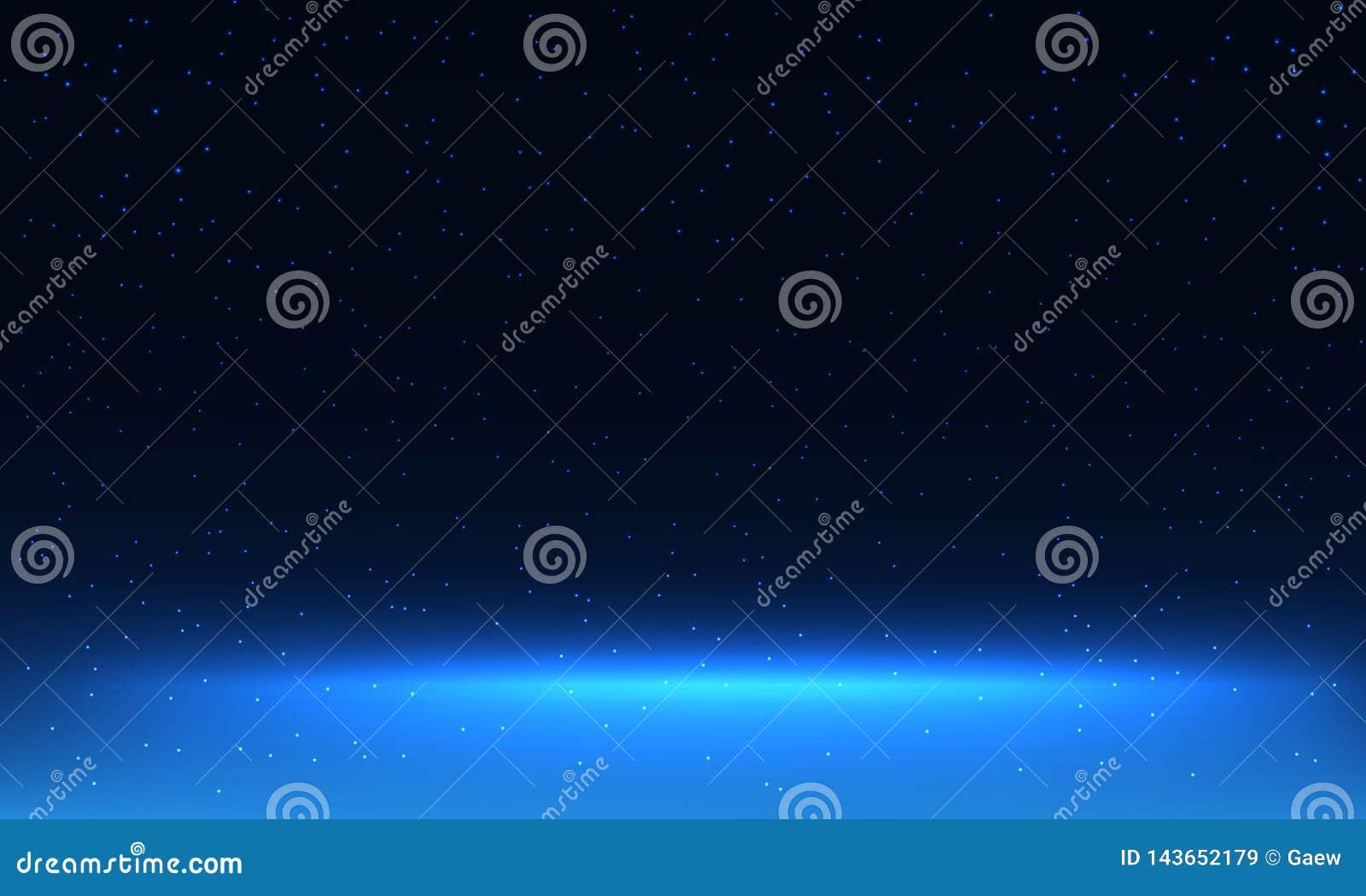 Dark sky with shining stars and Horizon on galaxy