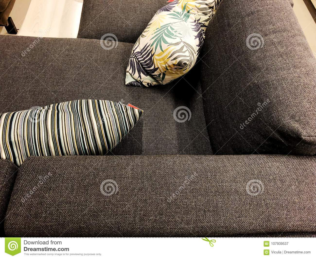 Dark Sofa With Colorful Cushions Soft Couch Classic Sofa Stock