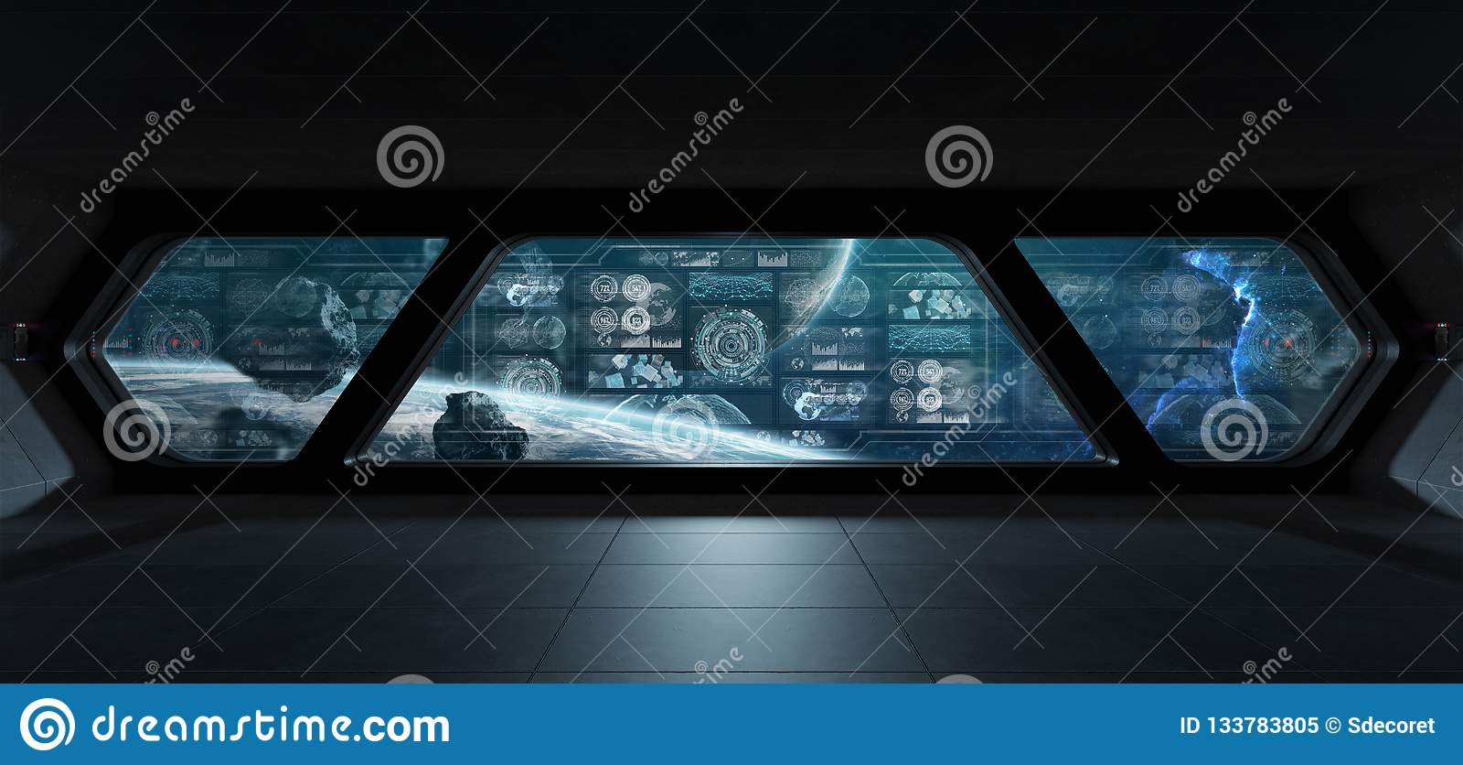 Dark spaceship interior with control panel digital screens 3D re