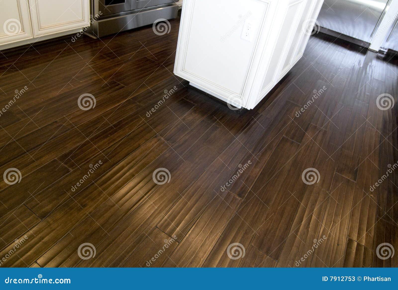 Dark stained hardwood flooring