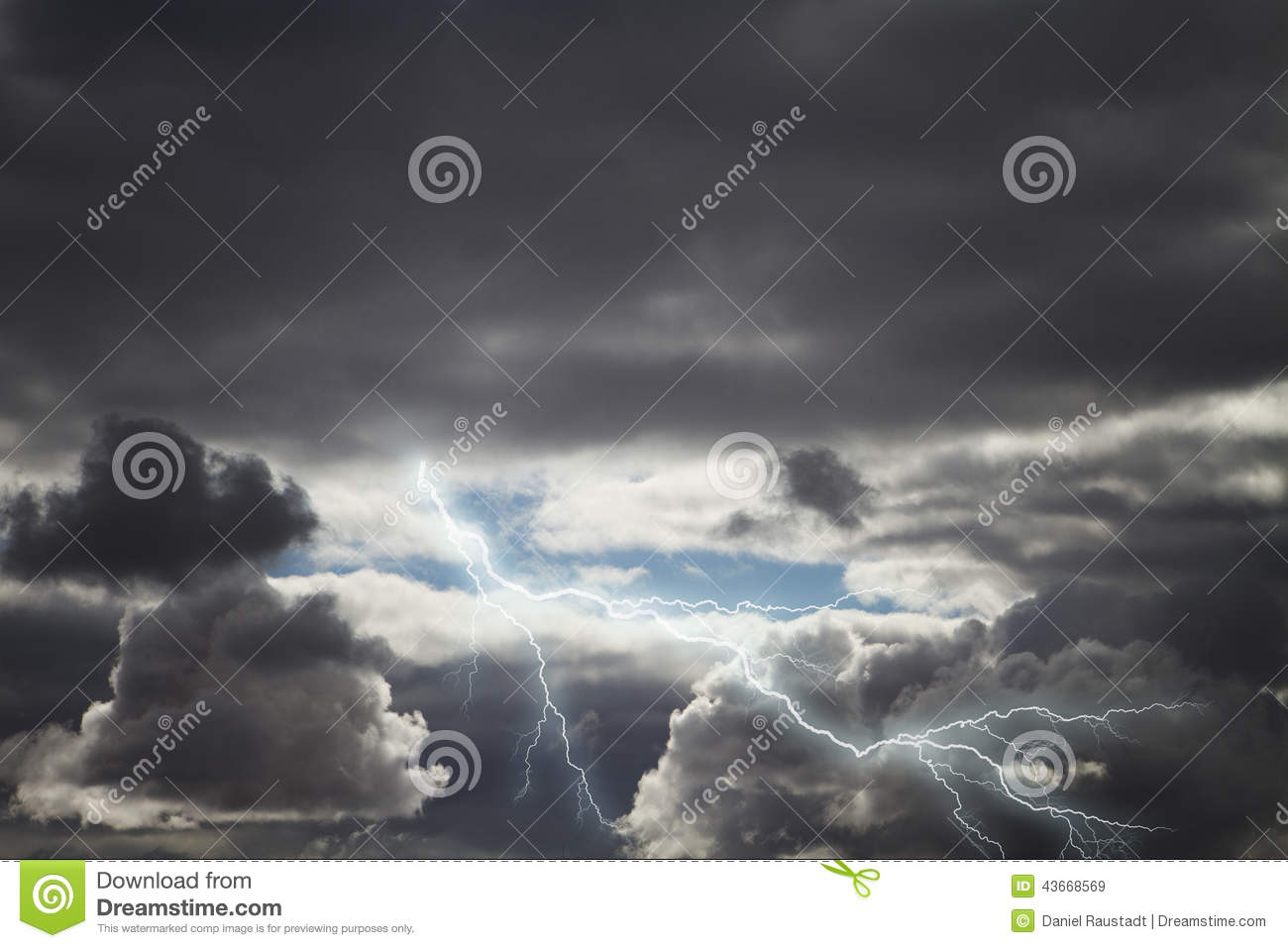 Dark Storm Rain Clouds With Lightning Stock Photo - Image ...