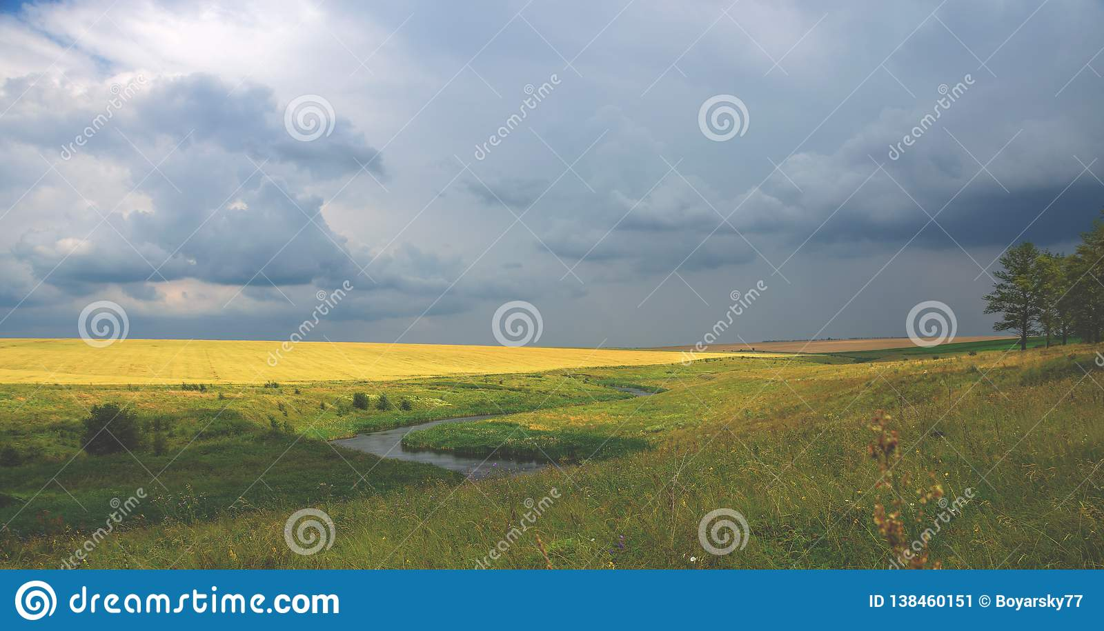 Cloudy summer landscape with river and wheat field