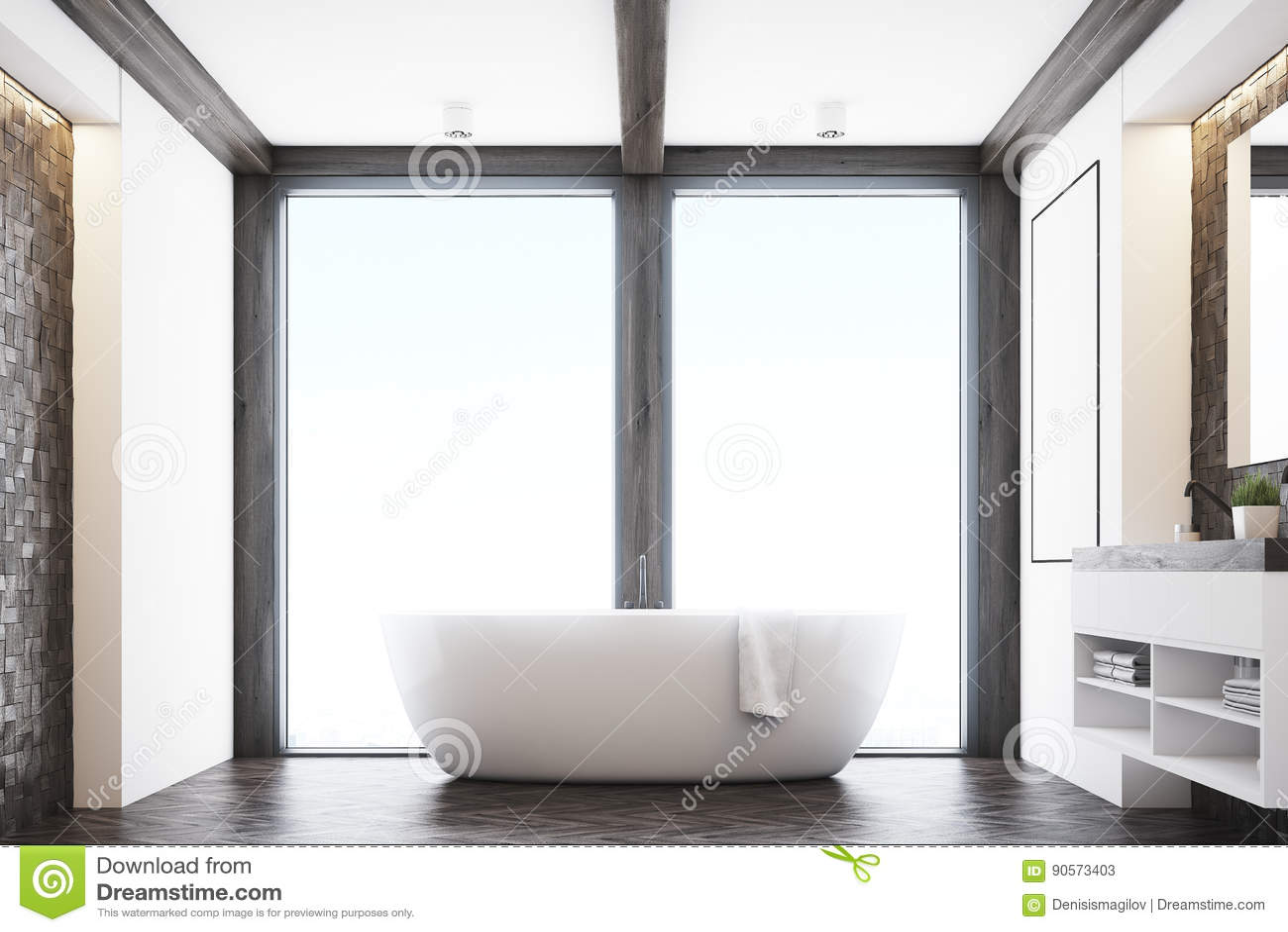 Dark tile bathroom, window stock illustration. Illustration of ...