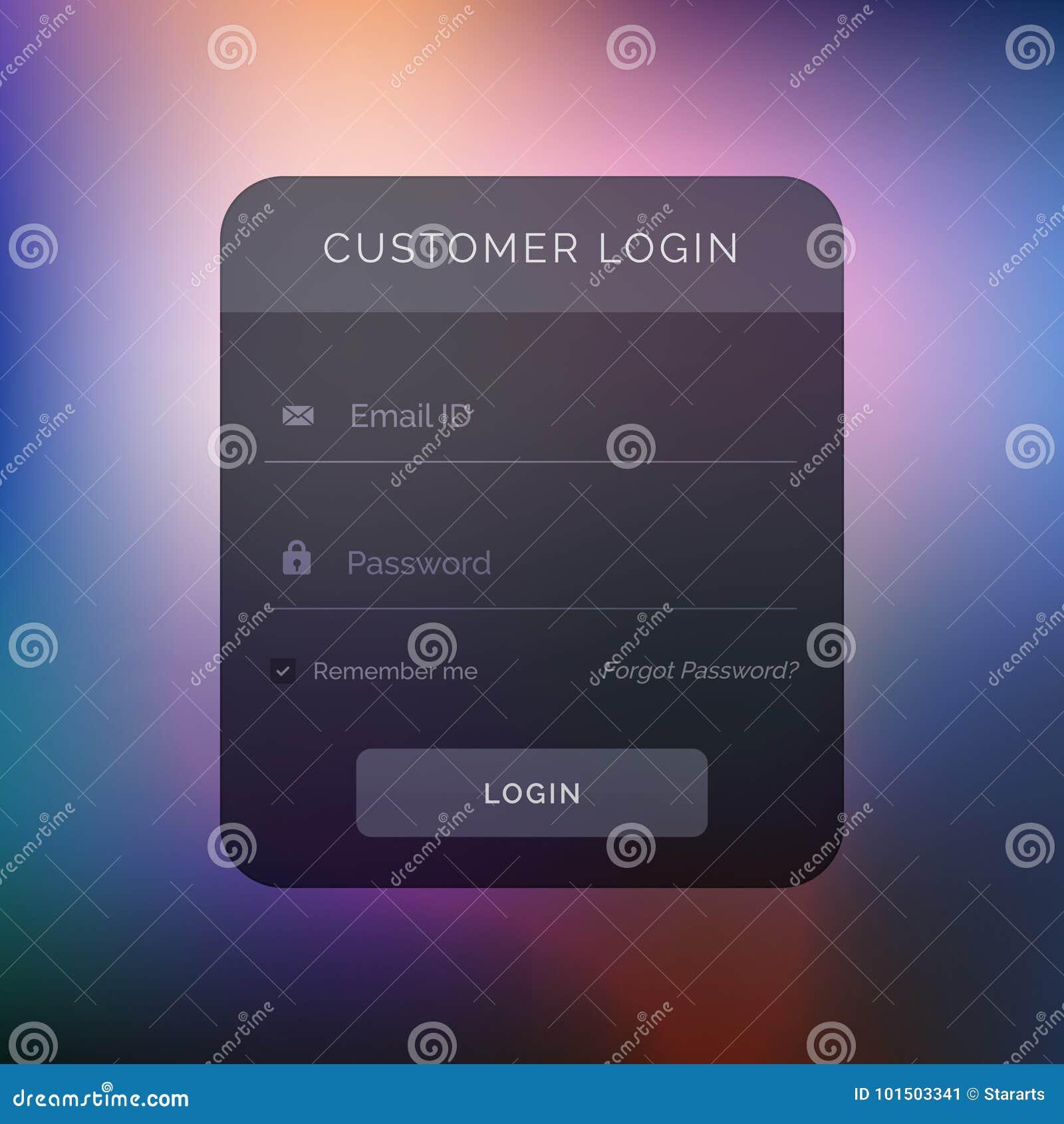 Dark User Interface Design For Login Template Stock Vector