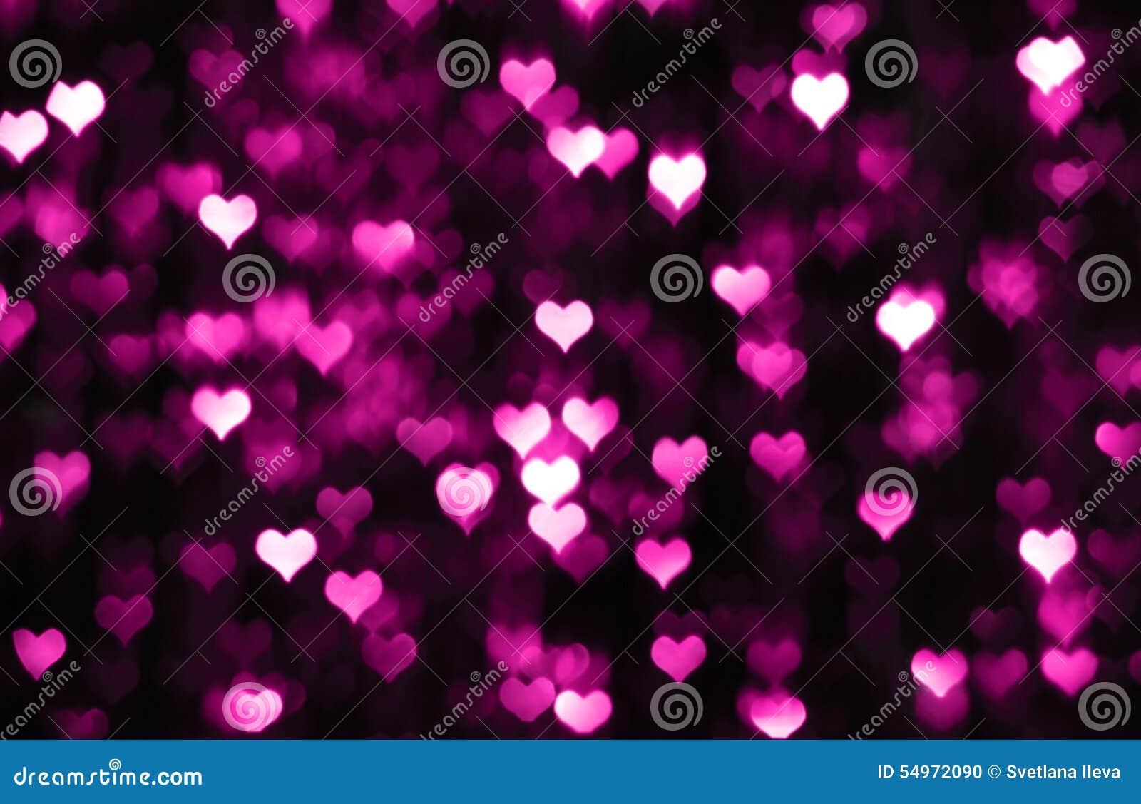 Dark Valentine Background With Purple Hearts Stock Photo ...
