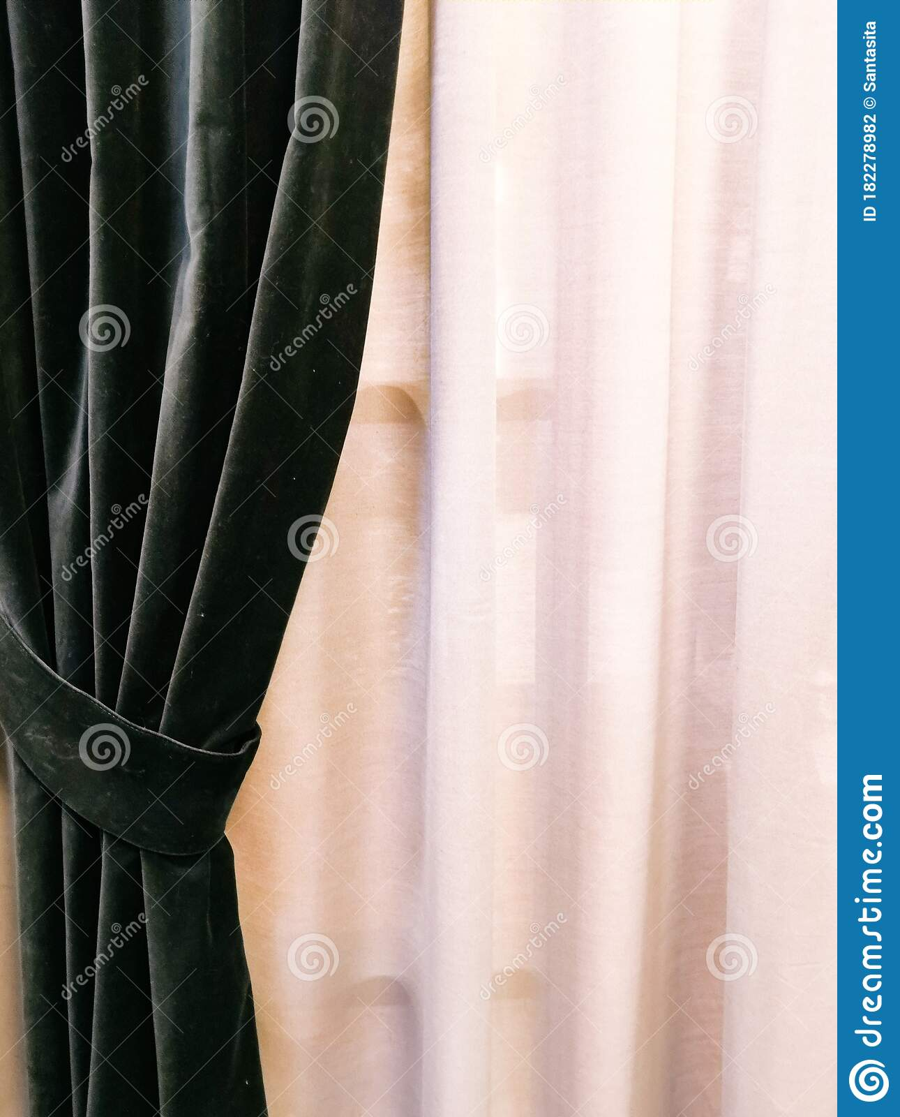 A Dark Velvet Curtain And A Light Tulle Long Dark Luxury Curtains And Tulle Curtains Sheers On A Window In The Bedroom Stock Photo Image Of Luxury Modern 182278982