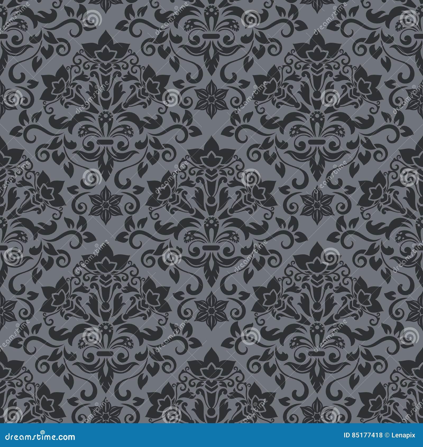 Dark Vintage Wallpaper Pattern Illustration Stock Vector