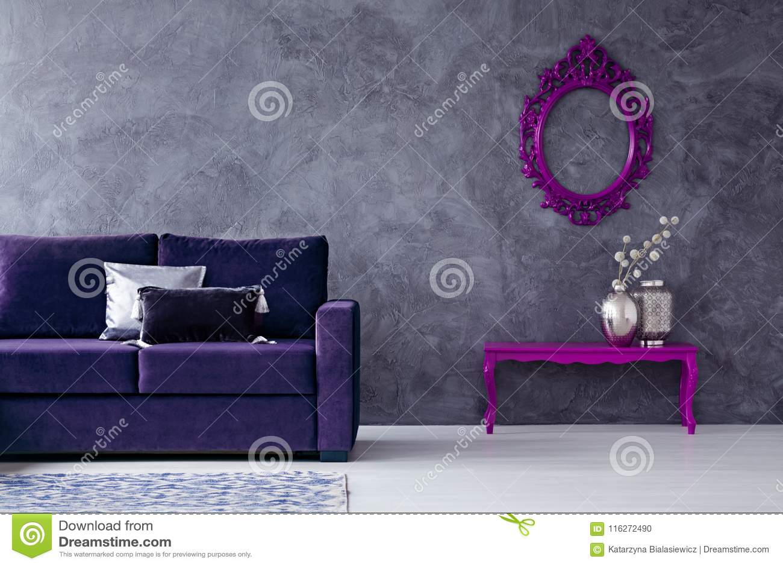 Dark Violet Living Room Interior Stock Photo Image Of Mockup Loft 116272490