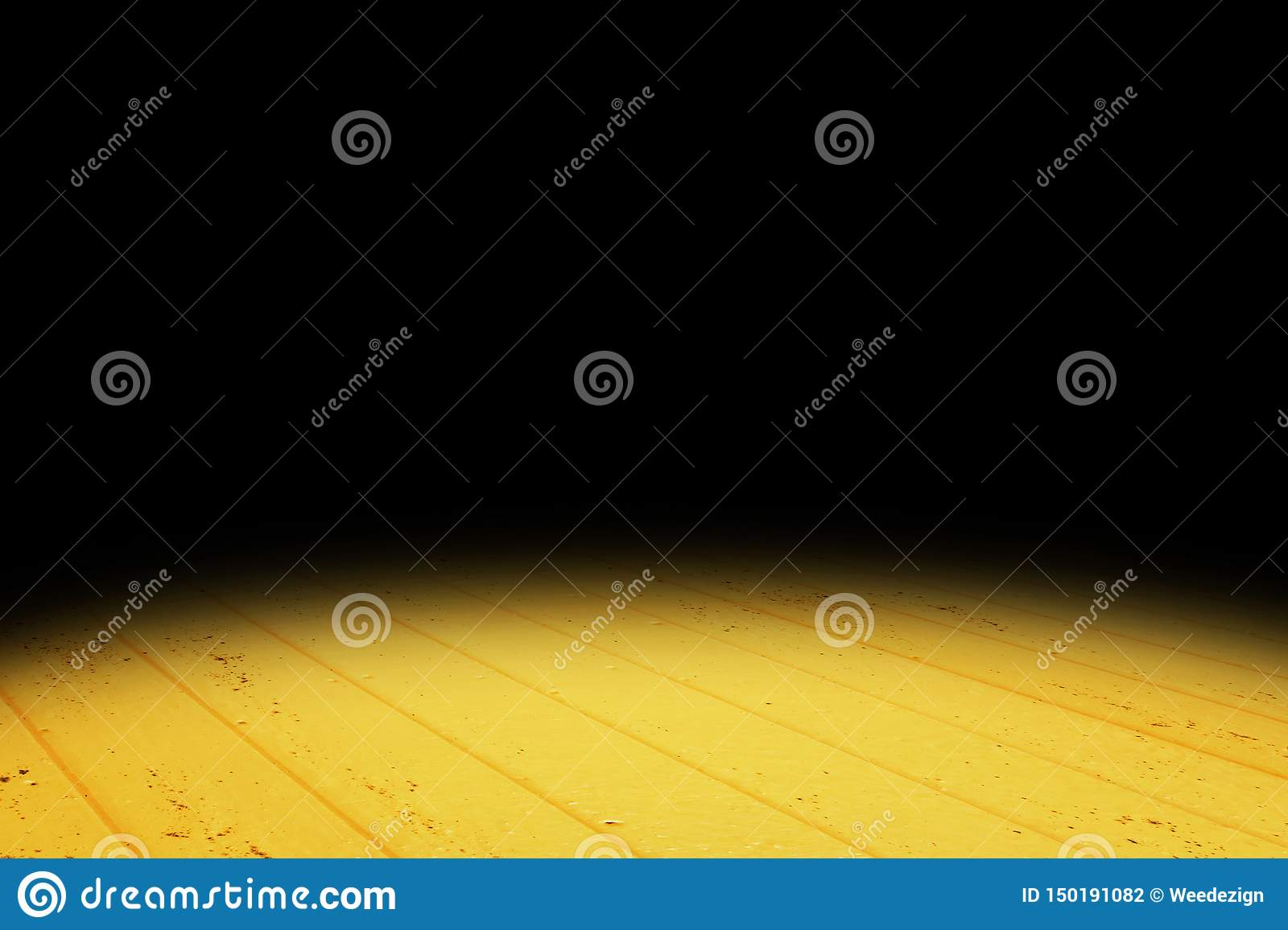 Dark vivid yellow Plank wood floor texture perspective background for display or montage of product,Mock up template for your