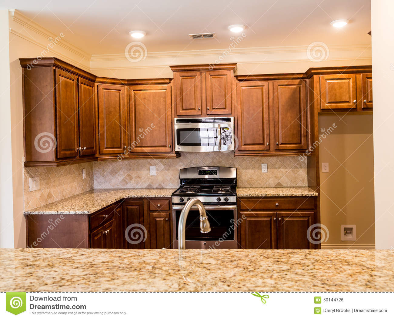 Dark Wood Cabinets And Granite Countertops Stock Photo Image Of Architecture Interior 60144726