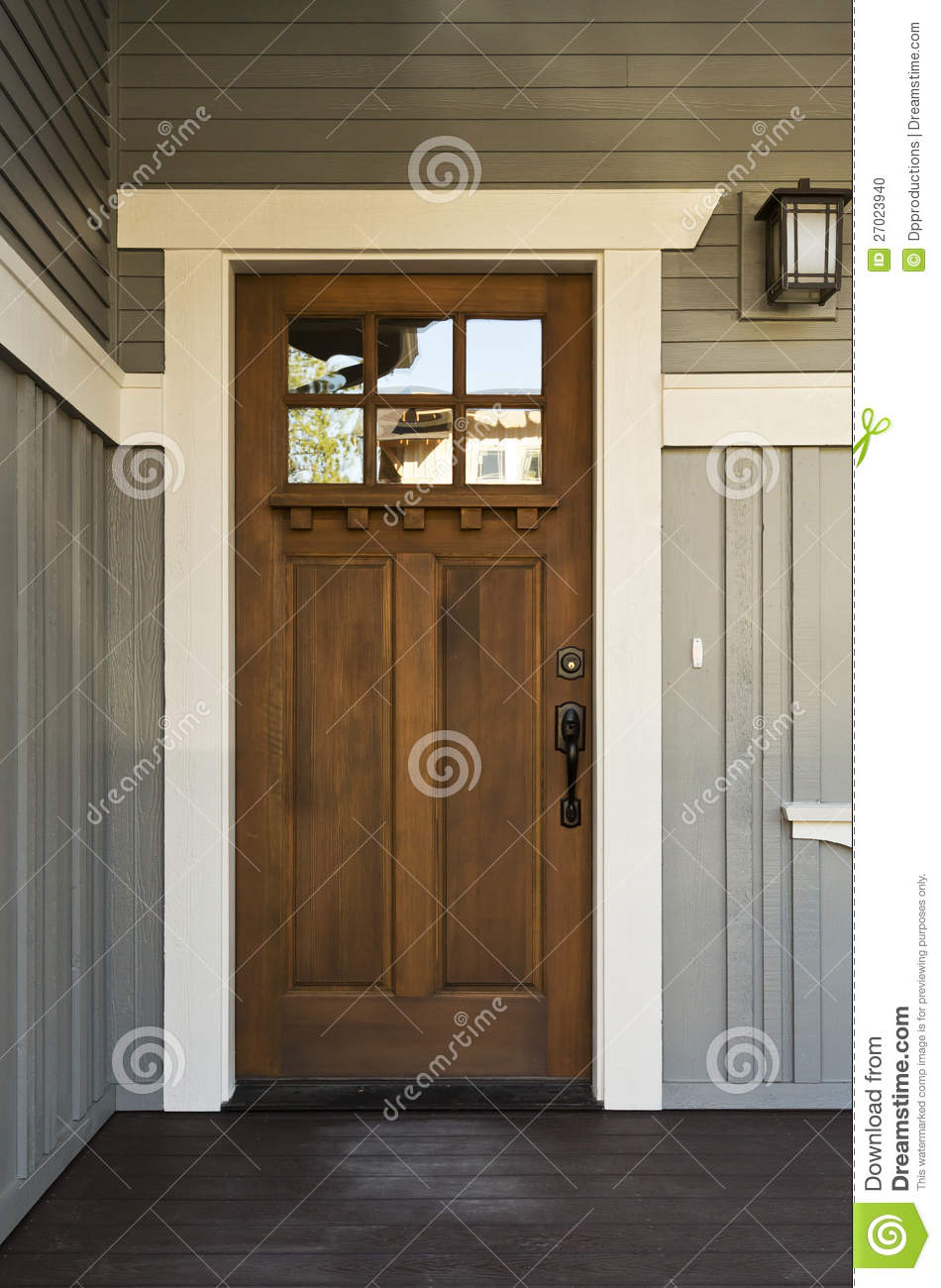 Dark Wood Front Door Of A Home Stock Photo Image