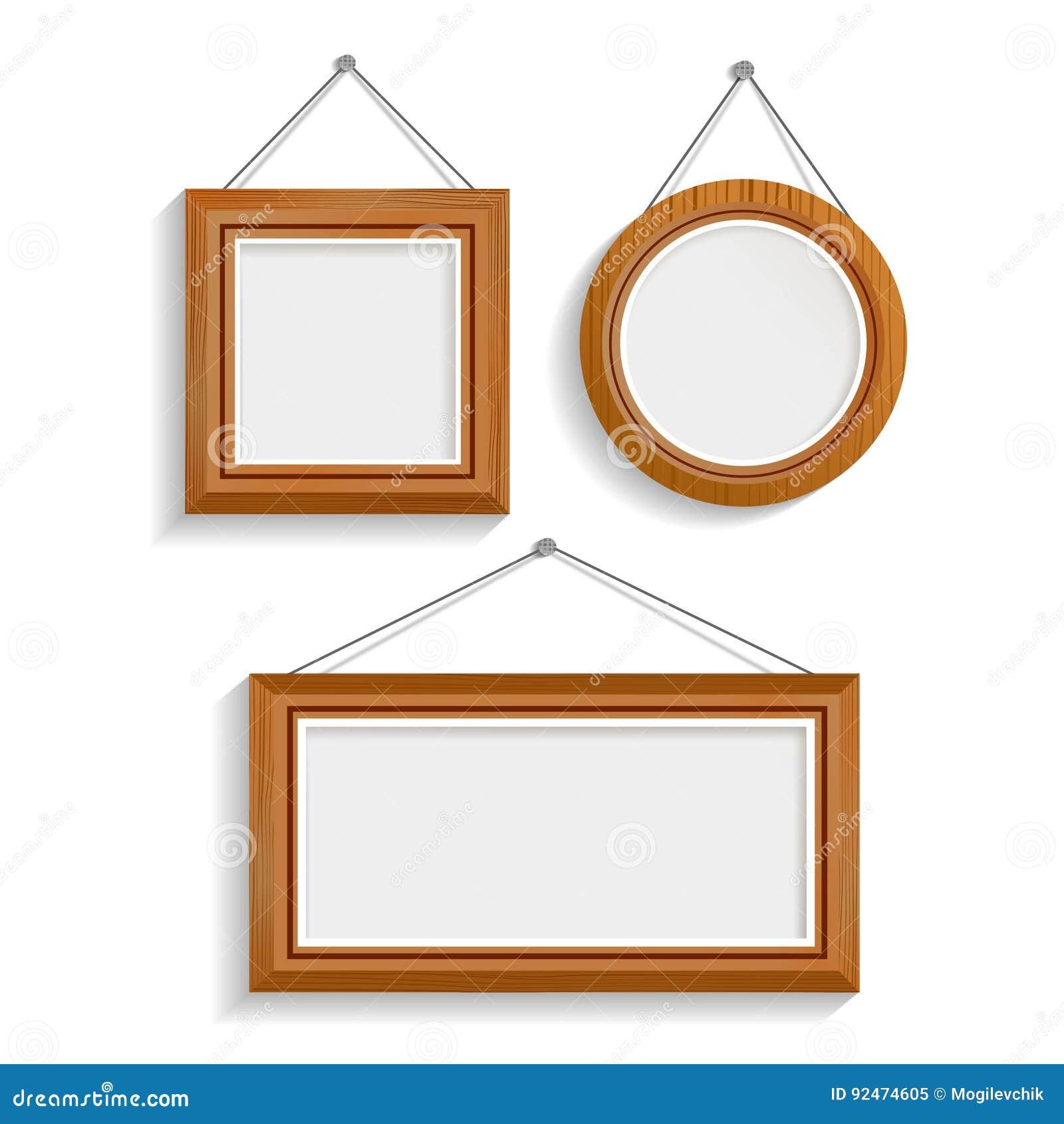 Wood frames set free vector - Dark Wood Isolated Frames Set Stock Vector