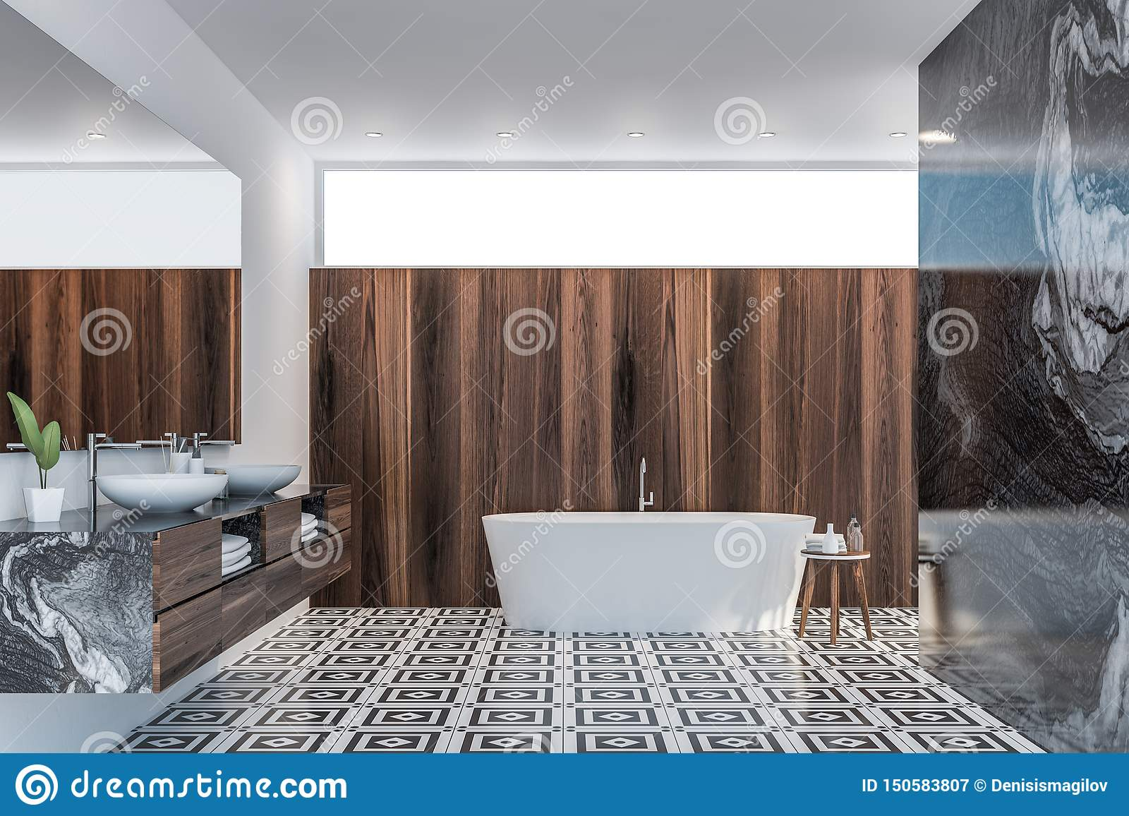 Dark Wood And Marble Bathroom Interior Stock Illustration Illustration Of Fancy Construction 150583807