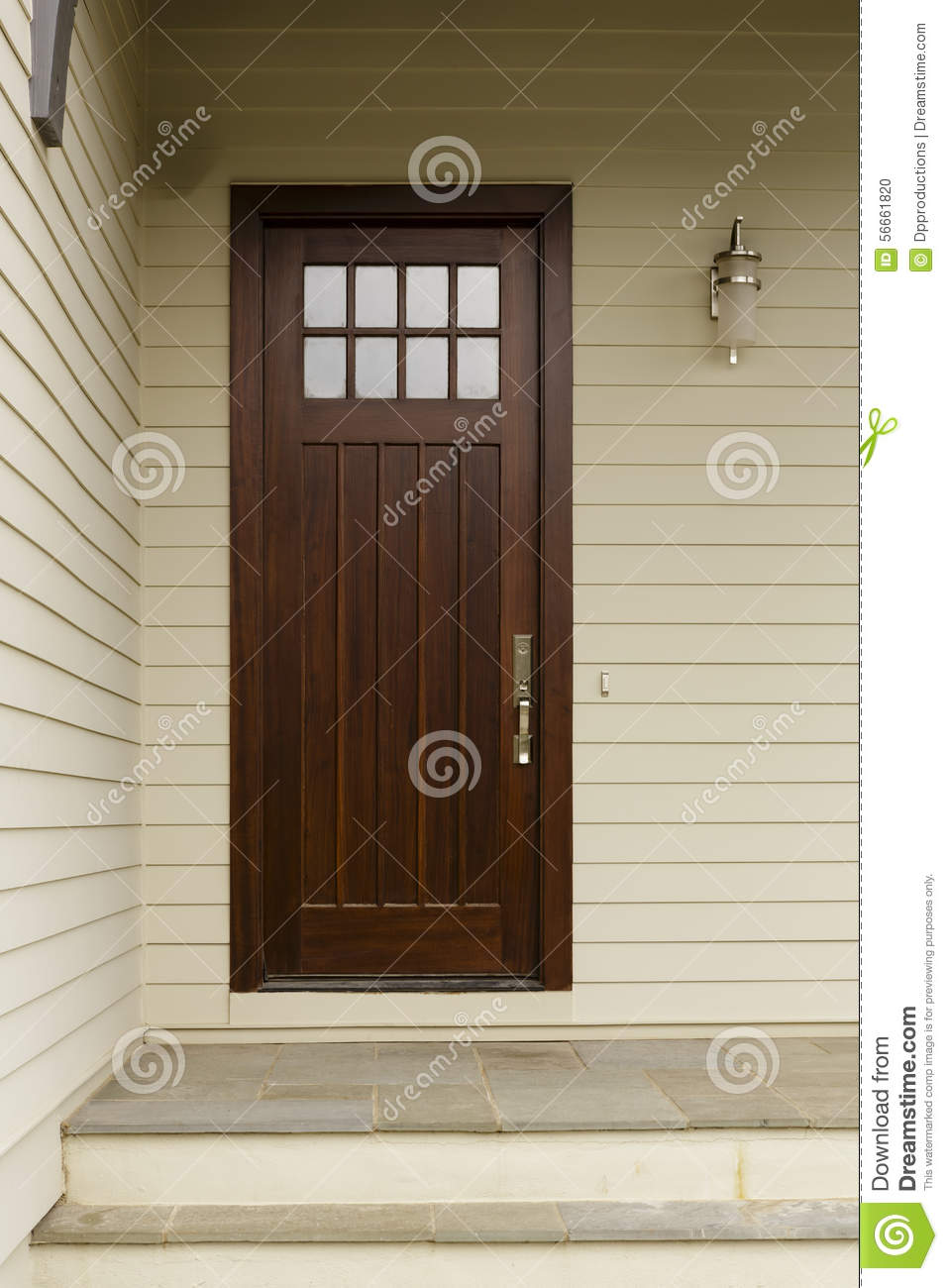 A dark wood slim front door stock photo image 56661820 for Modern front door lights