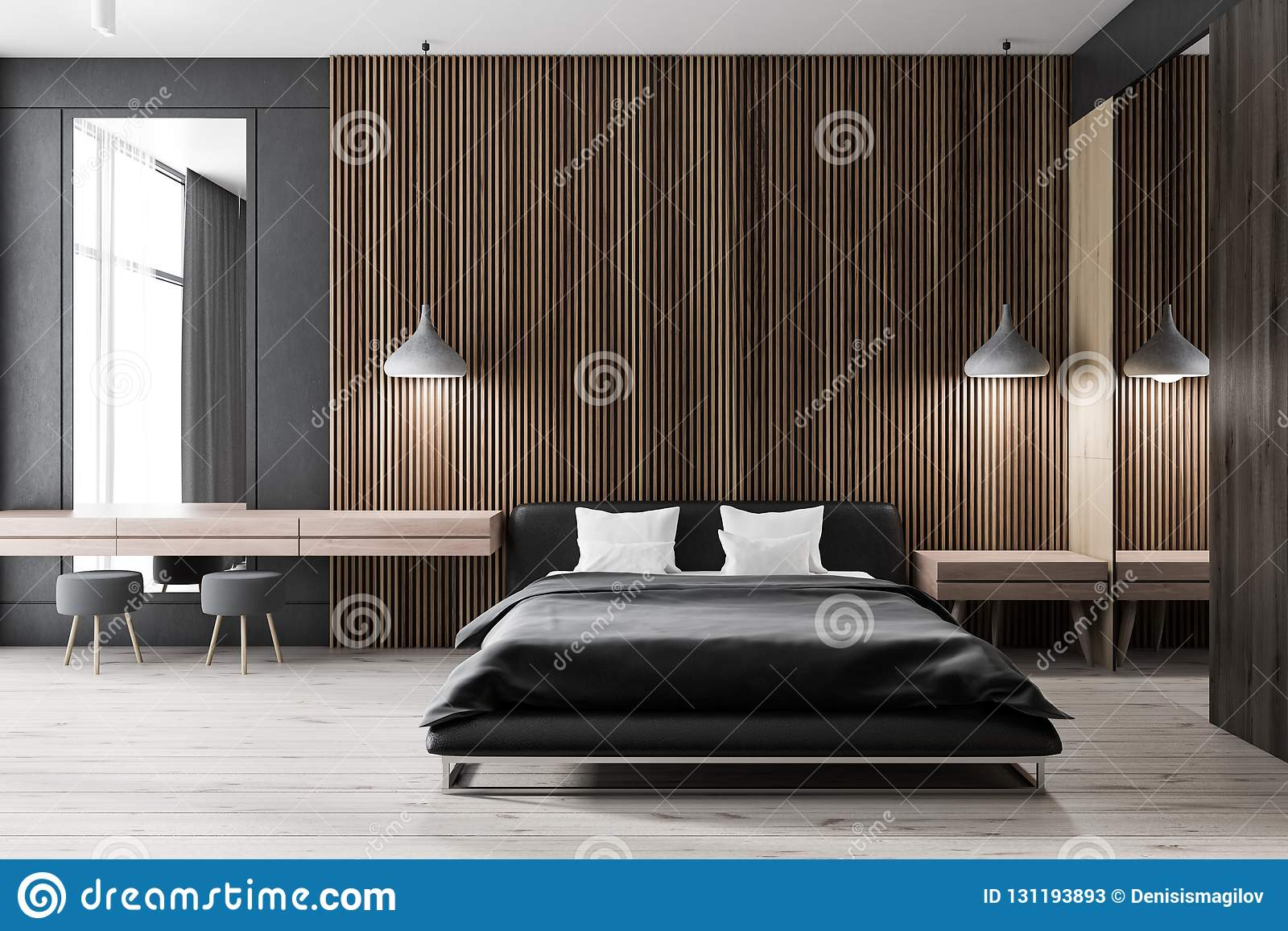 Dark Wooden Bedroom Black Bed Stock Illustration Illustration Of Electricity Master 131193893