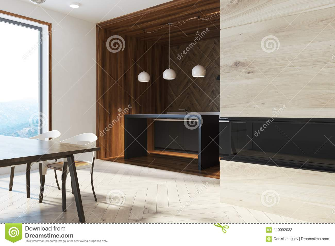 Dark Wooden Dining Table With Design Chairs Side Stock Illustration Illustration Of Dark Cozy 110092032