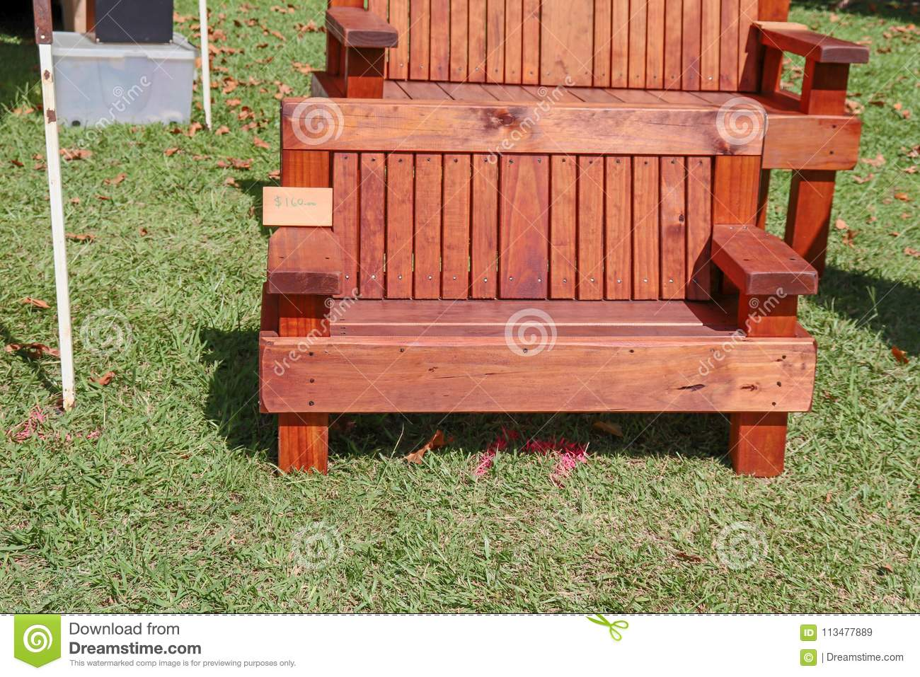 Dark Wooden Garden Bench For Sale At Market Stock Image Image Of