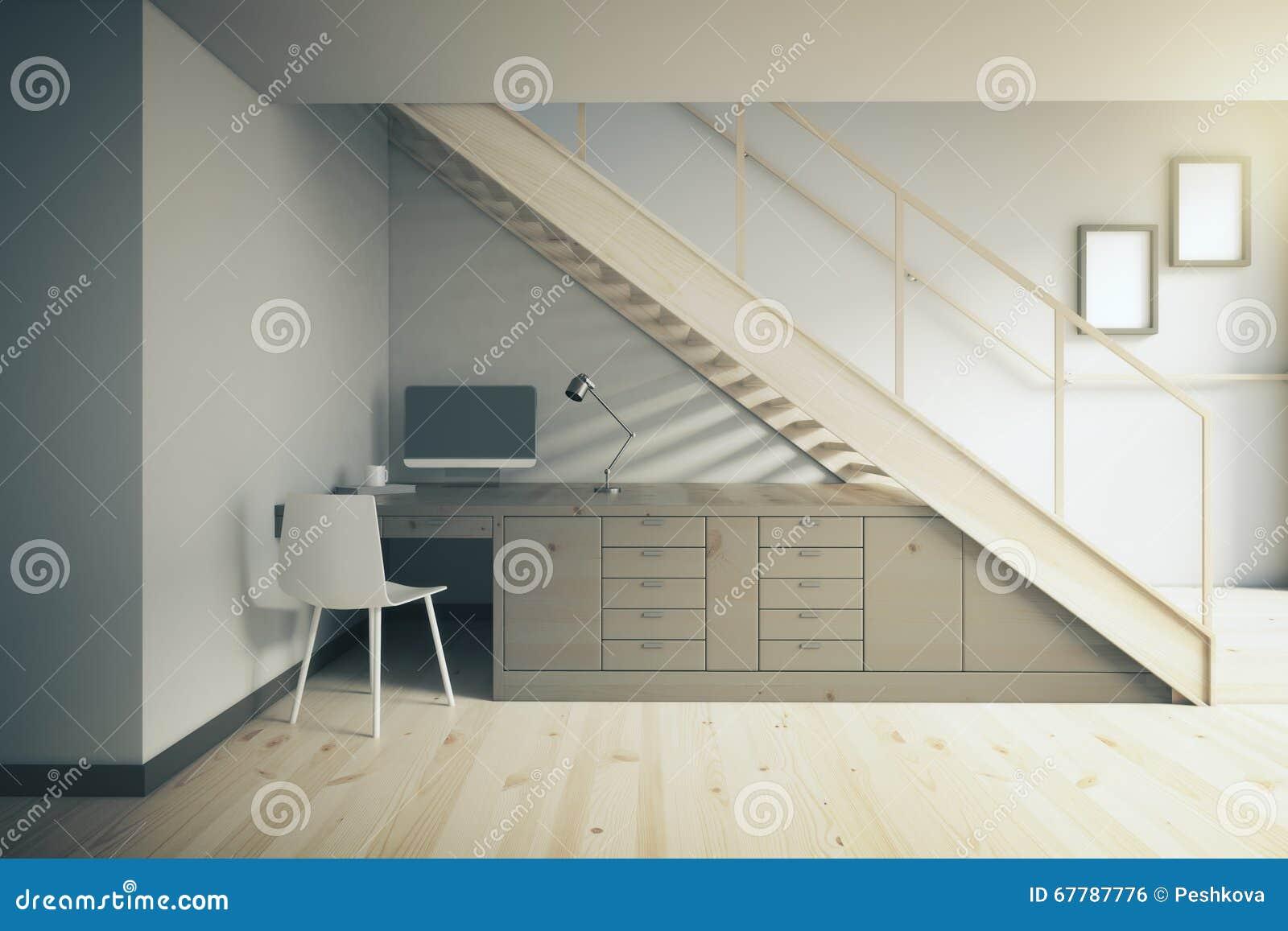 Dark working area under stairs stock illustration image for Interior decoration under stairs