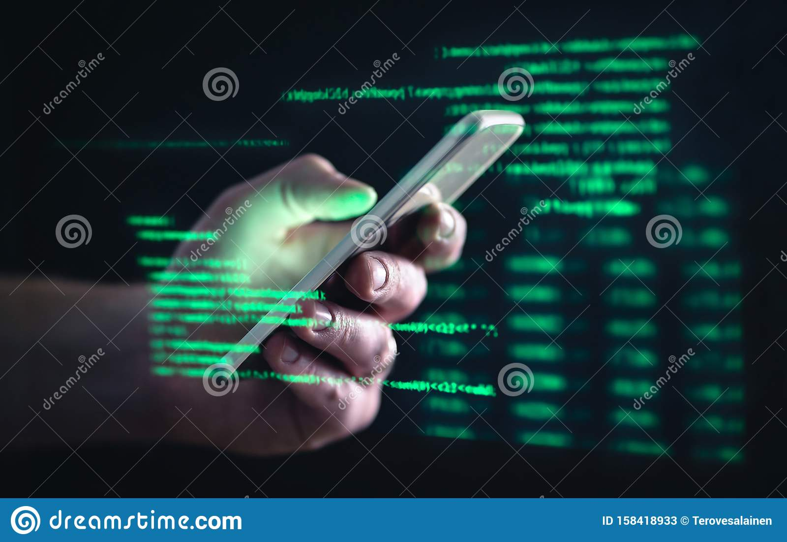 Darkweb, darknet and hacking concept. Hacker with cellphone. Man using dark web with smartphone. Mobile phone fraud, online scam.
