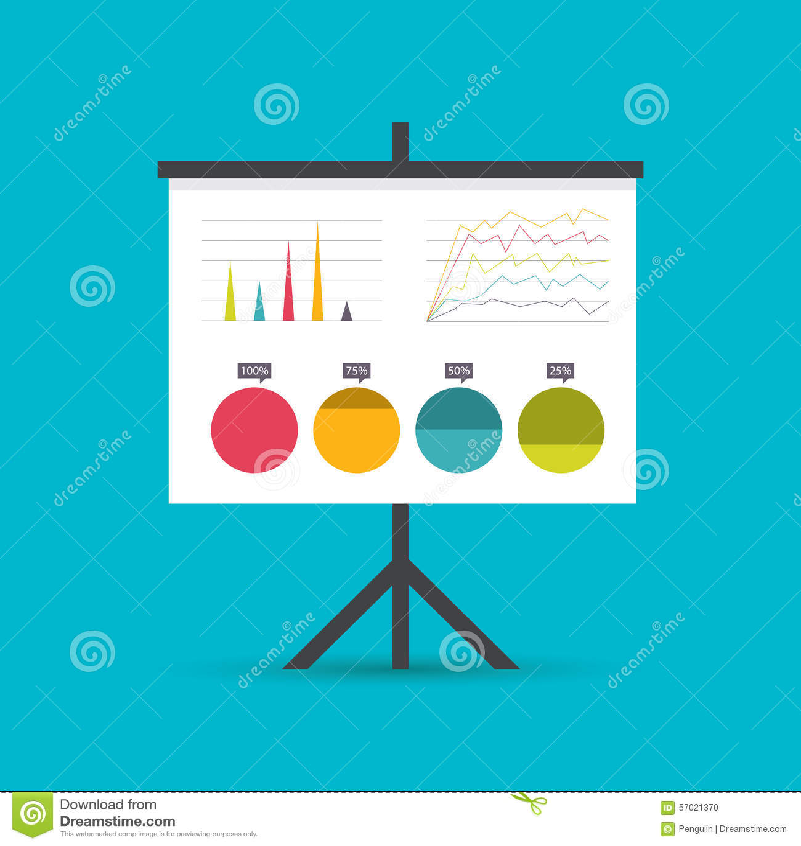 Darstellung whiteboard mit Marktdaten und -statistiken für zukünftige Werbekampagne und Geschäftsstrategien