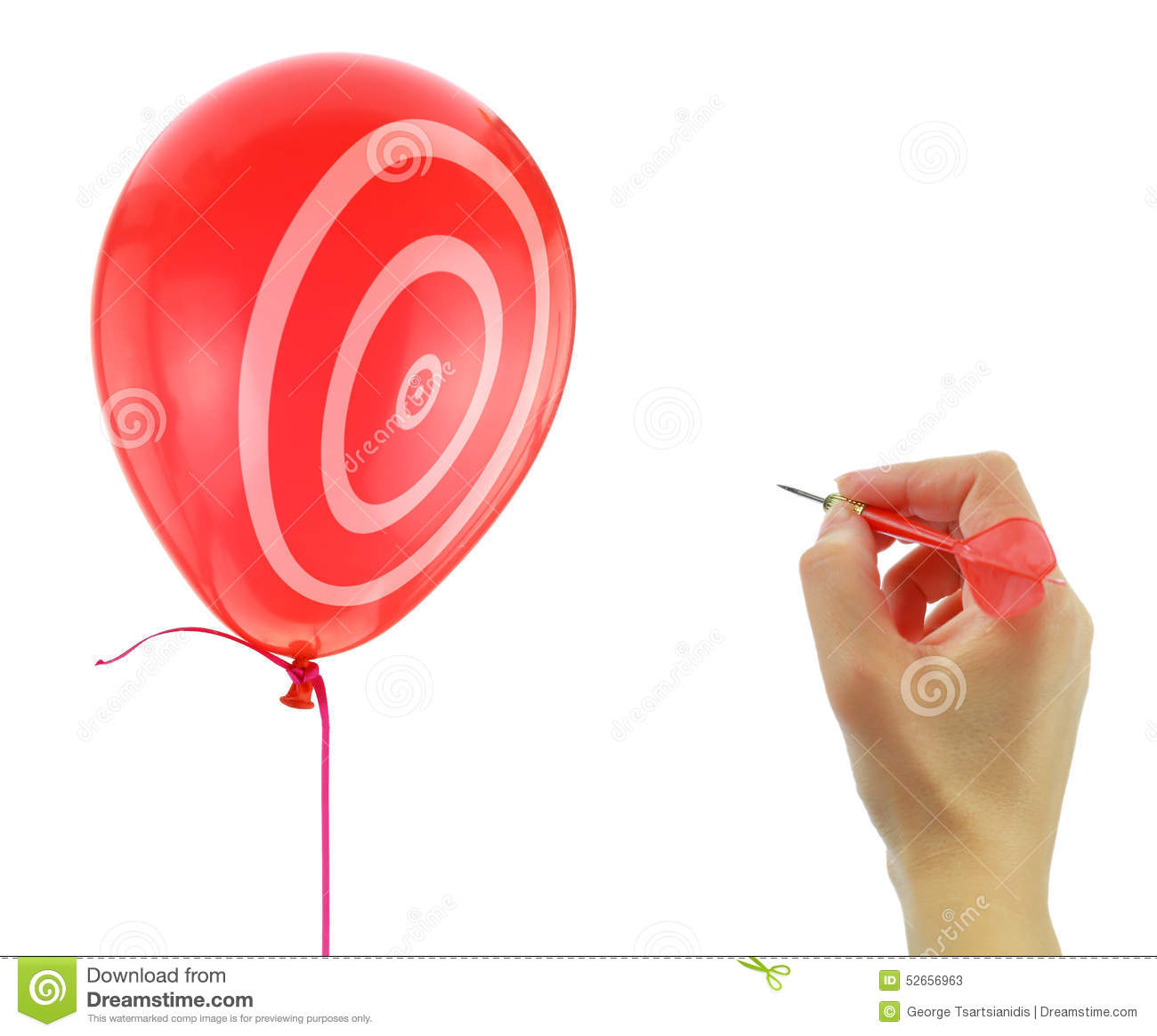 Dart about to pop a balloon