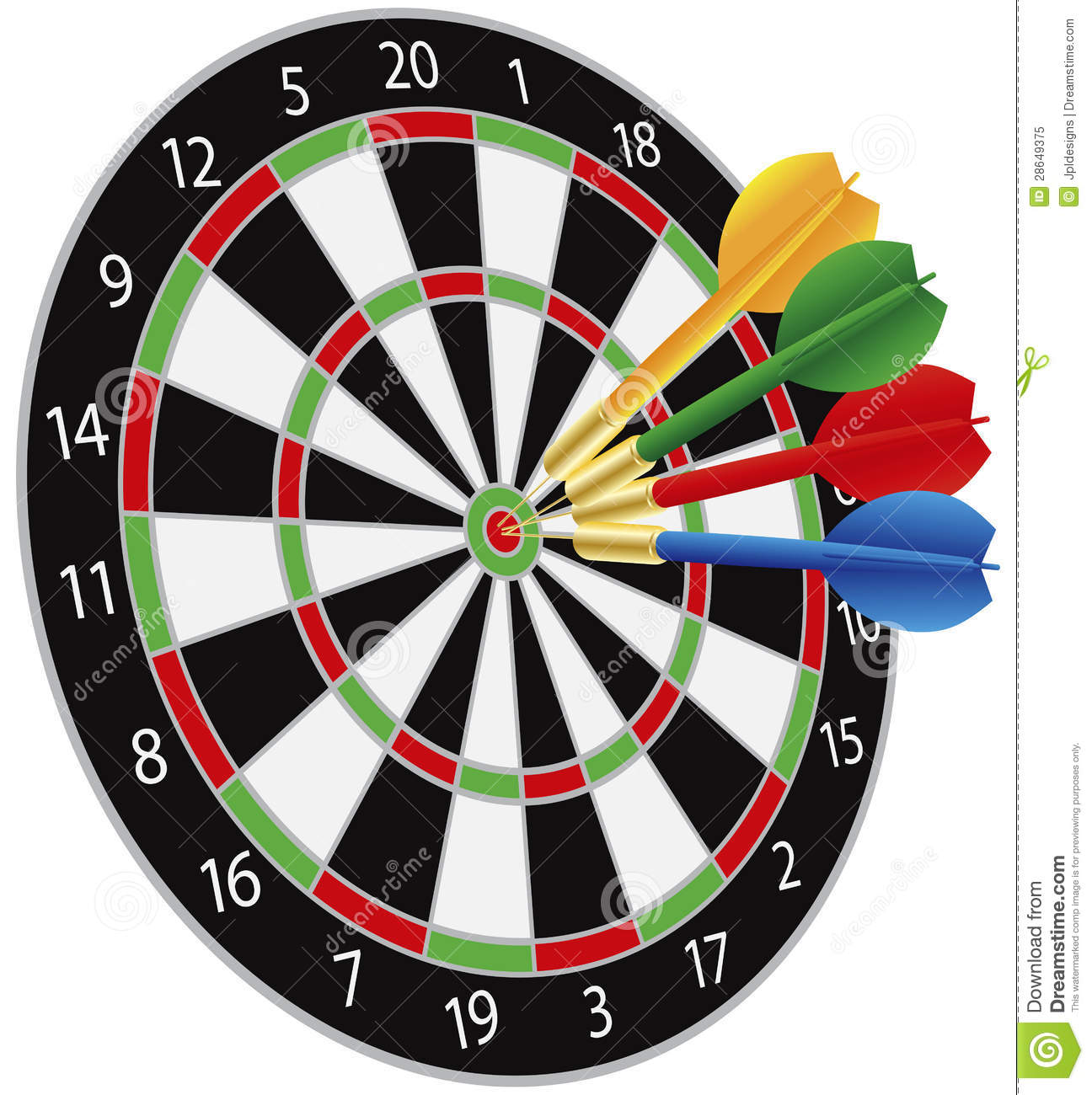 Dartboard with Darts Hitting on Target Bullseye Illustration Isolated ...