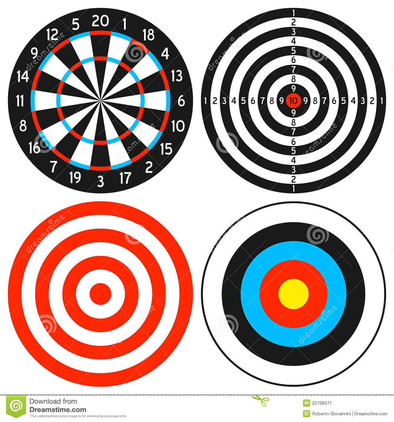 Dartboard And Target Set Stock Vector Image Of
