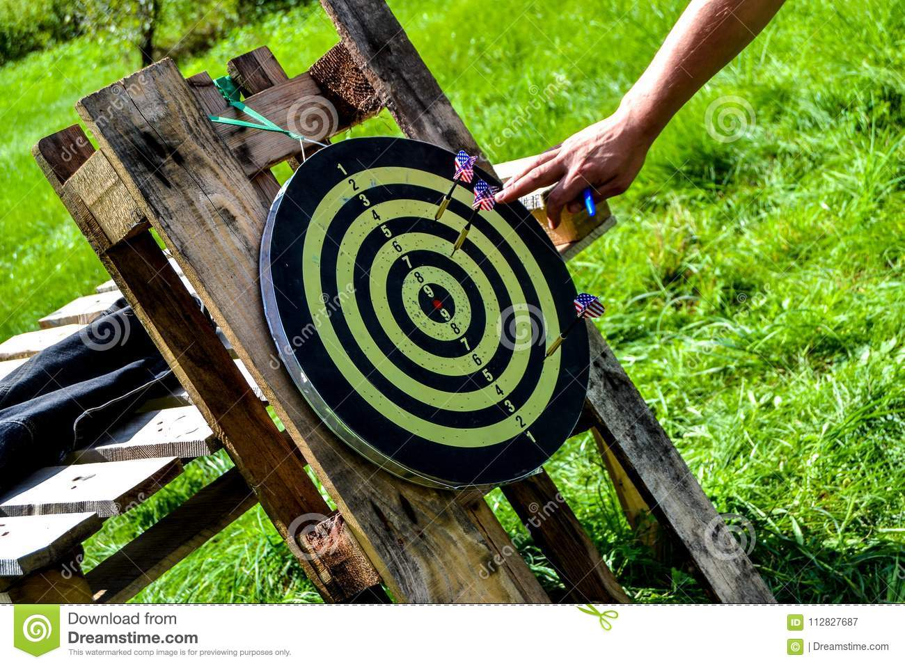 Game In Darts Game On The Nature Throwing Darts Stock Image