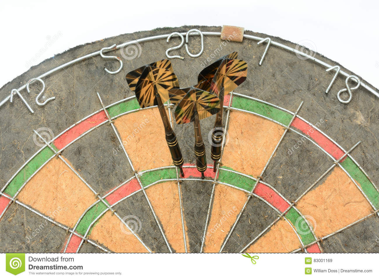 Darts Hitting Triple 20 Square To Win Cricket Game Stock Image