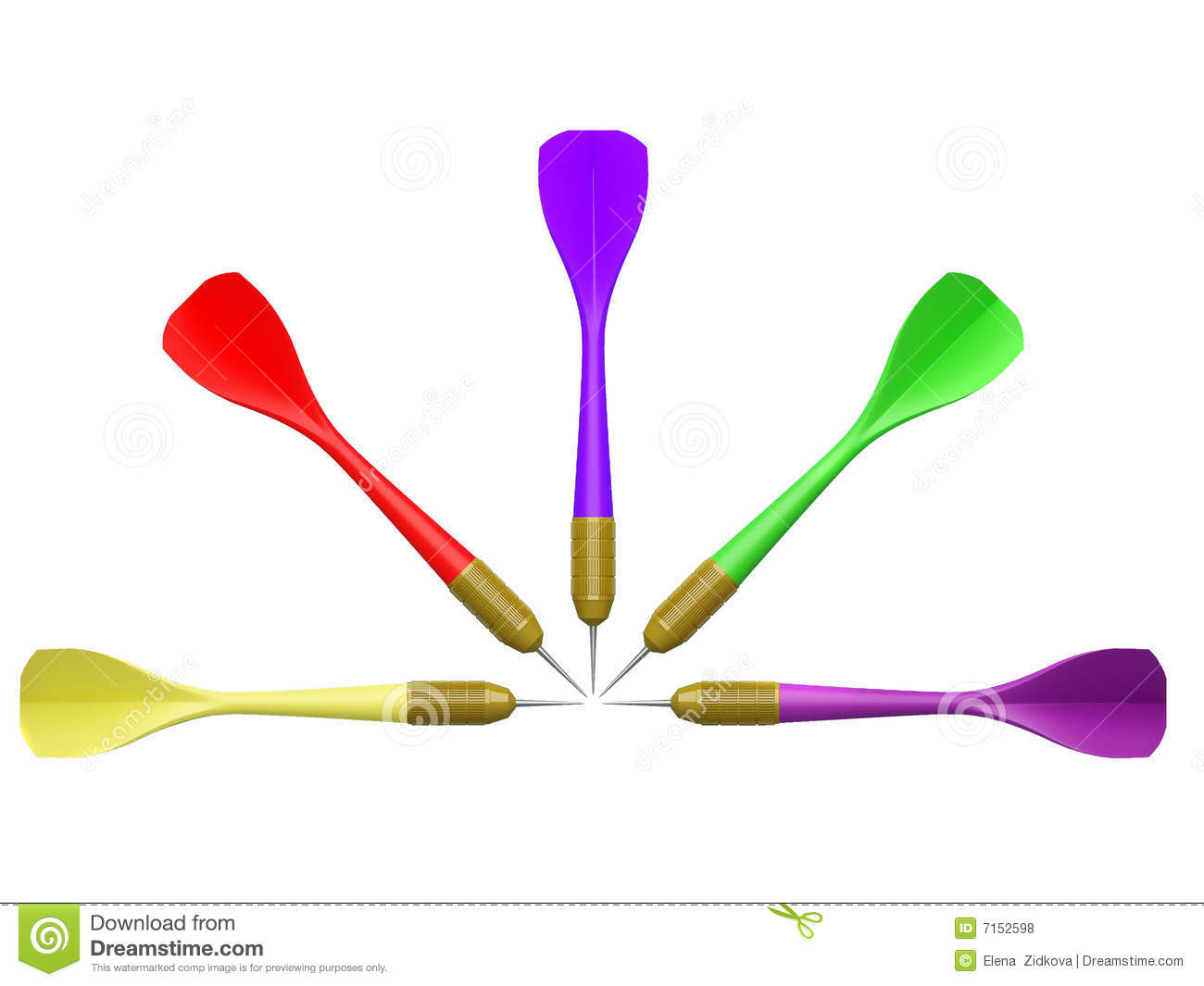 Darts placed on white background