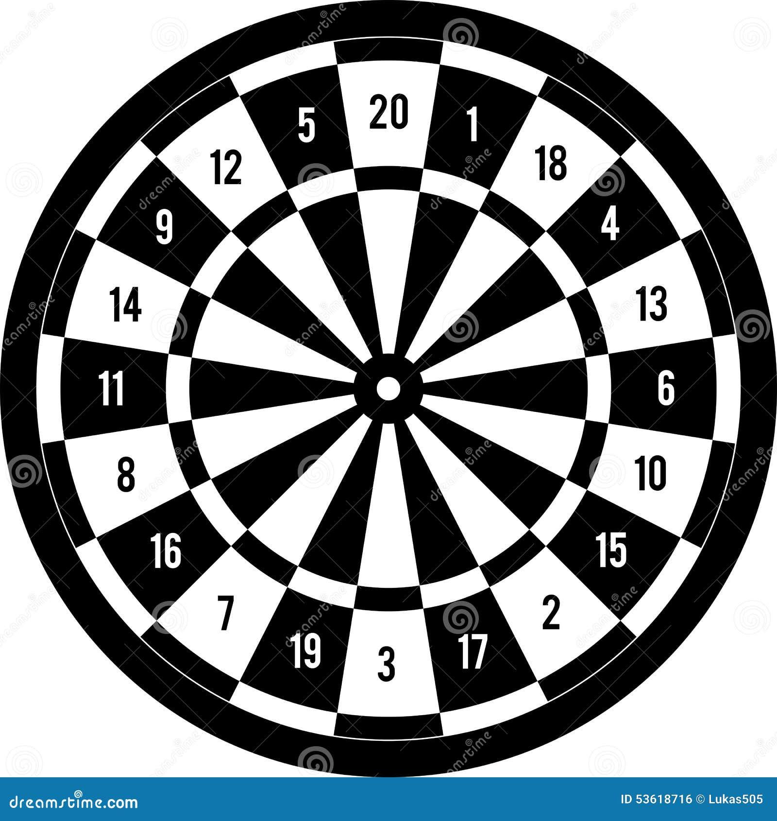 Darts Target Black & White Stock Vector - Image: 53618716