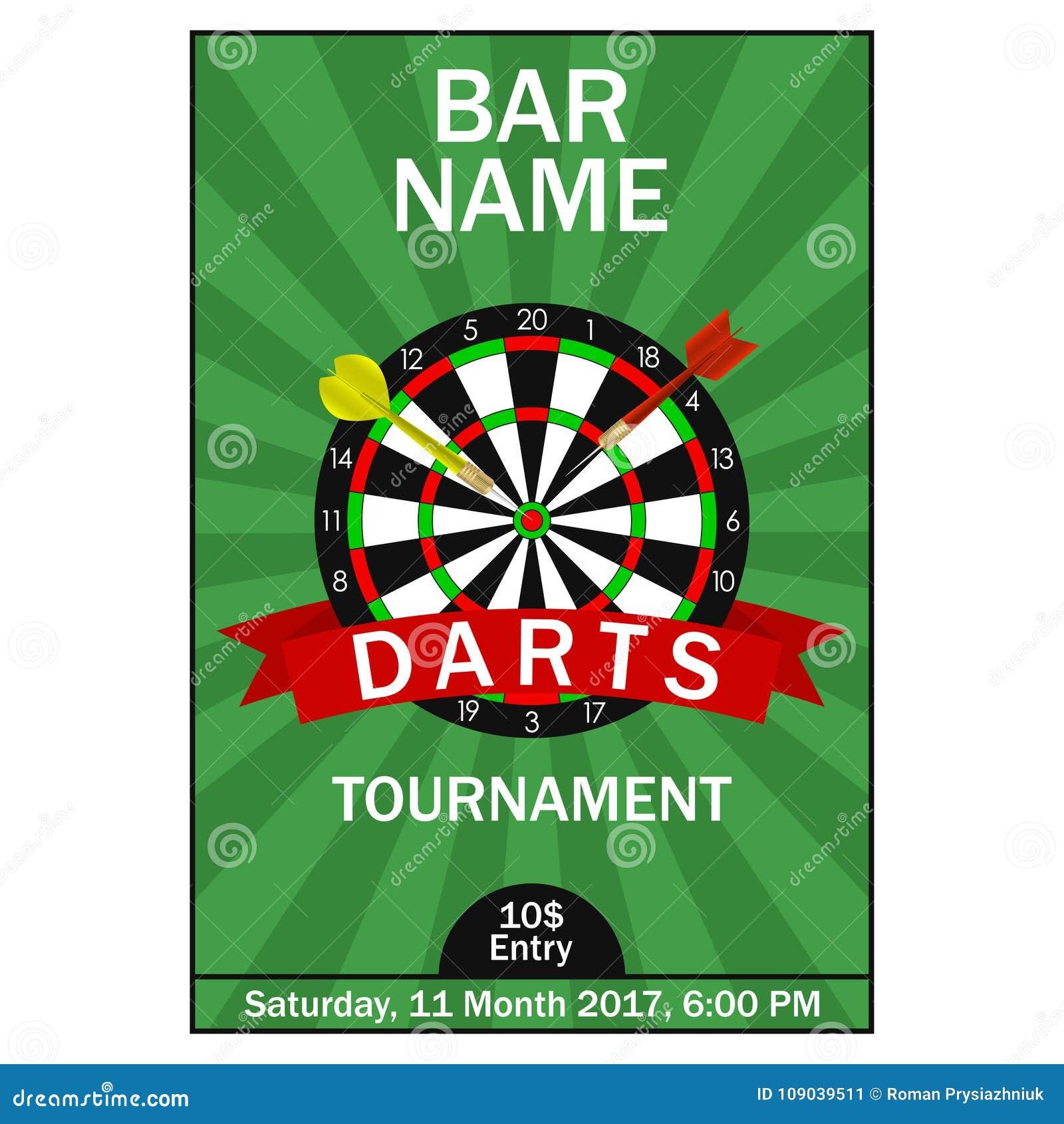 darts tournament poster design template for championship sport