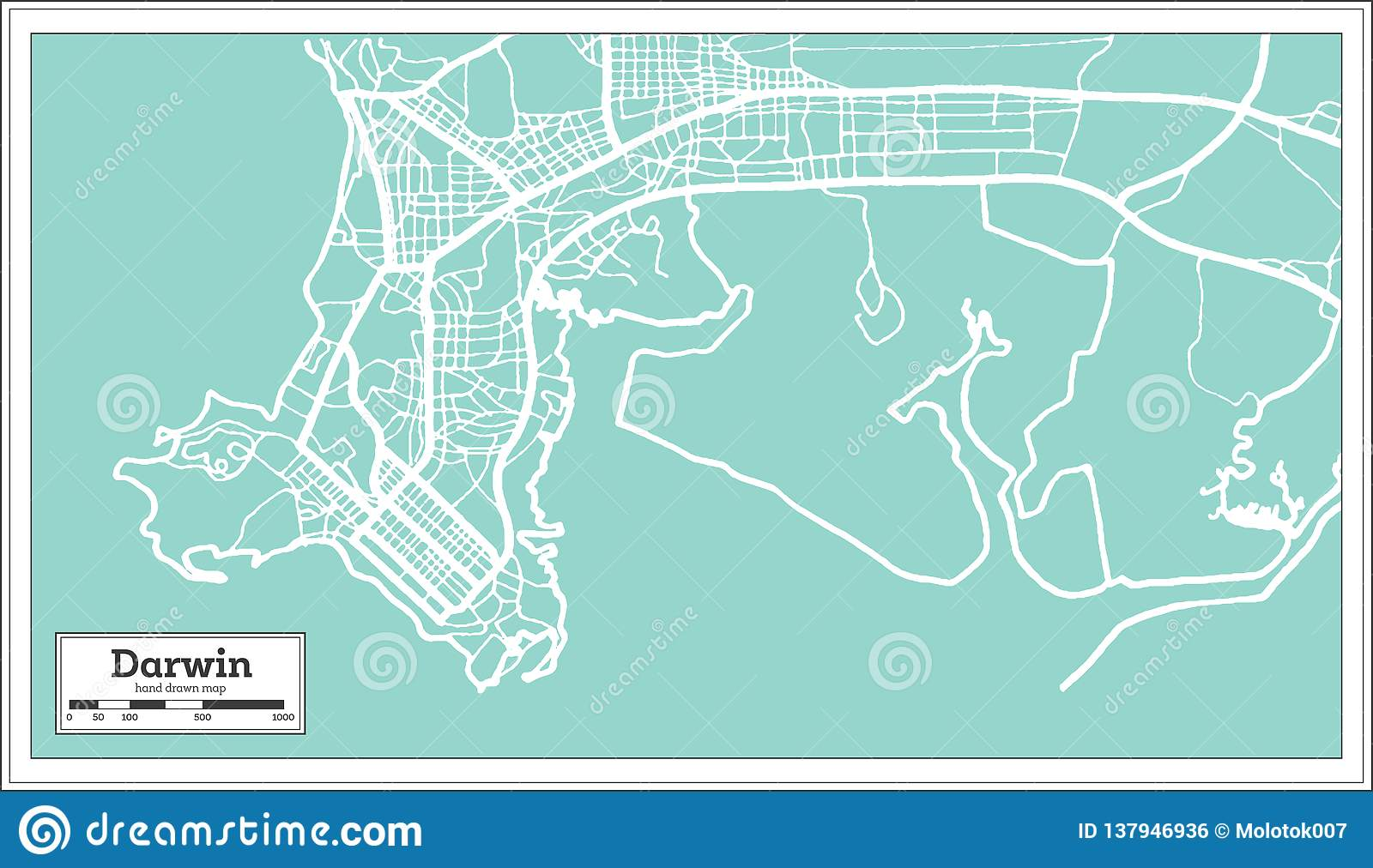 Darwin Australia City Map In Retro Style. Outline Map Stock Vector on
