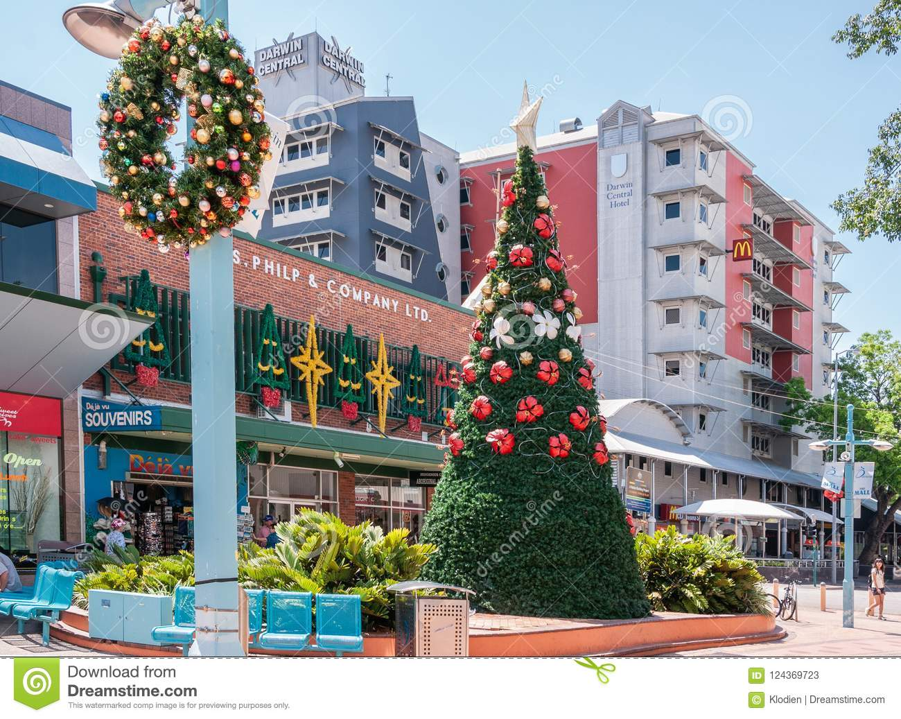 download christmas decoration at the mall darwin australia editorial stock photo image