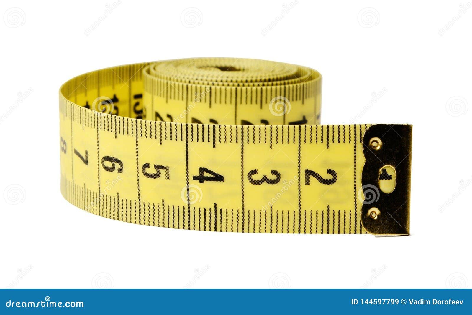 Das Band des Zentimeterschneiders auf einem wei?en lokalisierten Hintergrund Nahaufnahme
