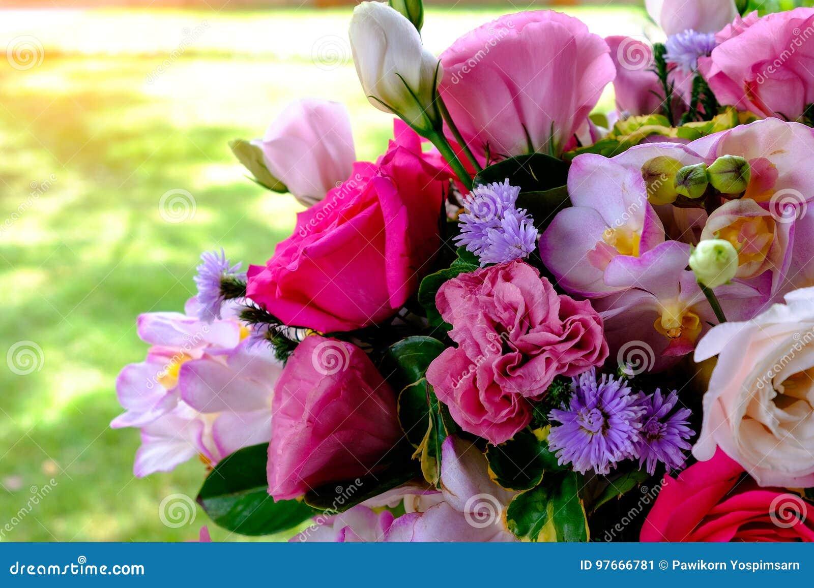 Das Bild des bunten Orchideenblumenblumenstraußes mit Unschärfehintergrund