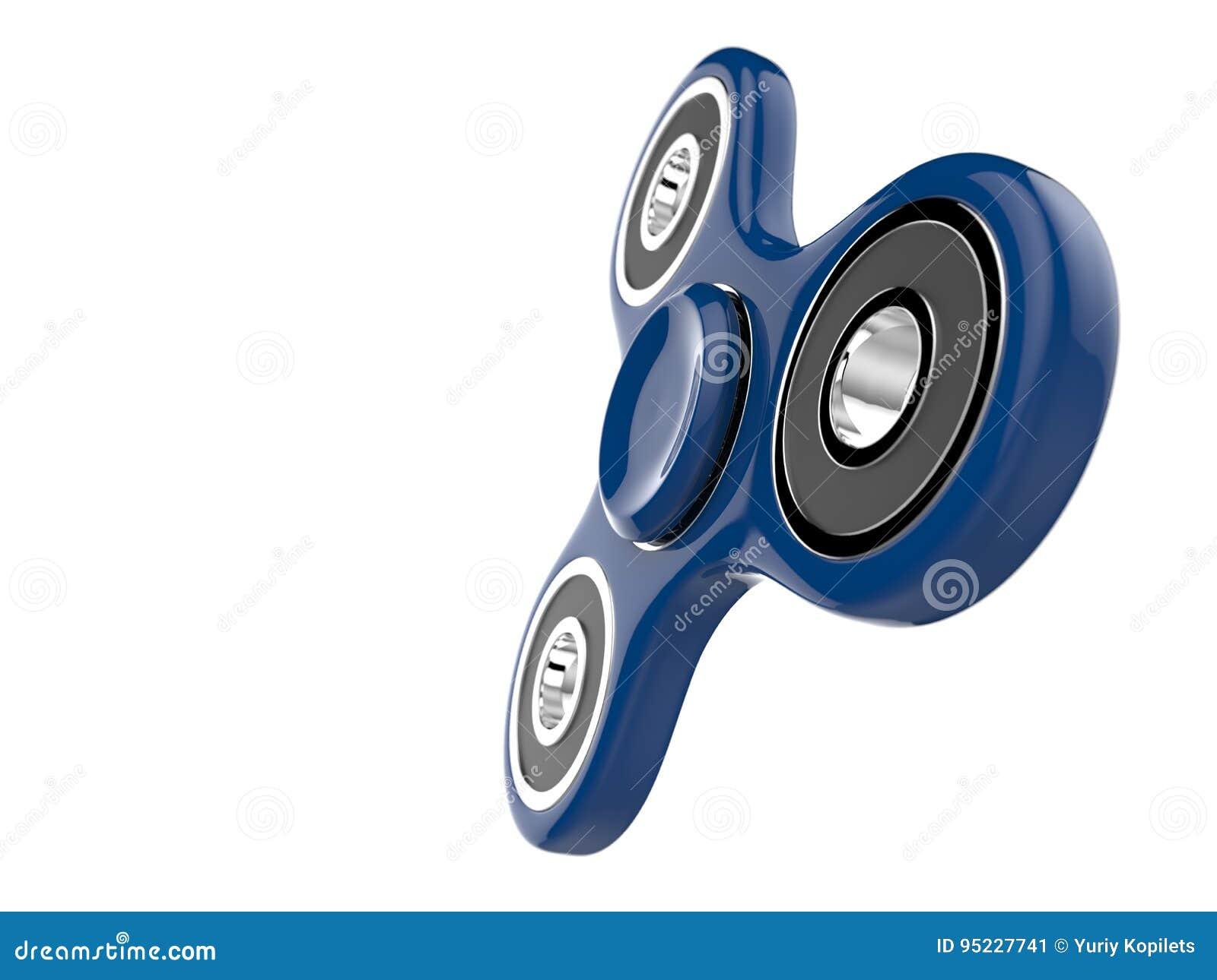 Das blaue Unruhe SPINNER-Druckentlastungsspielzeug auf Weiß lokalisierte Hintergrund Abbildung 3D