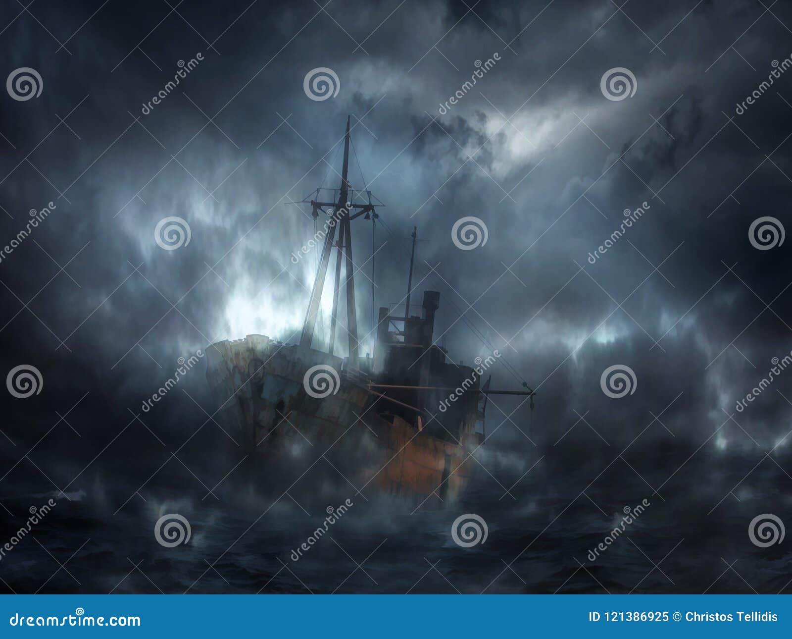Das dunkle Schiff des Geistes Digital-Illustrationskunst
