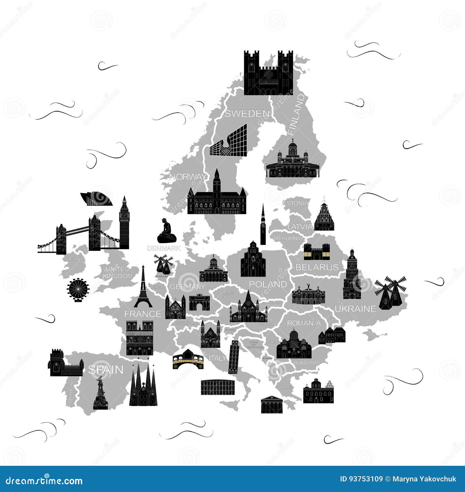 Das Europa-Kartenschwarze
