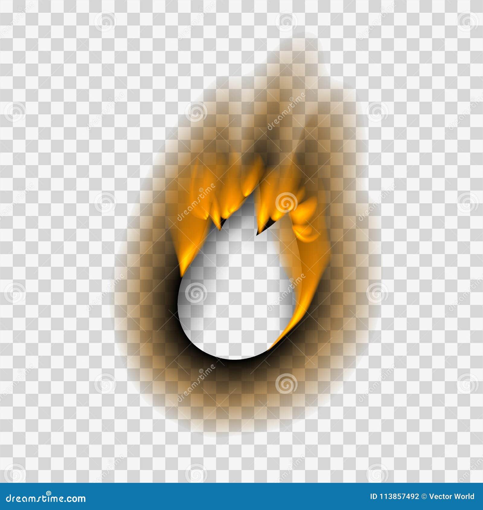 Das gebrannte gebrannte Stück verblaßte Papierder feuerflammenseite des lochs realistisches Vektorillustration Blatt heftige Asch
