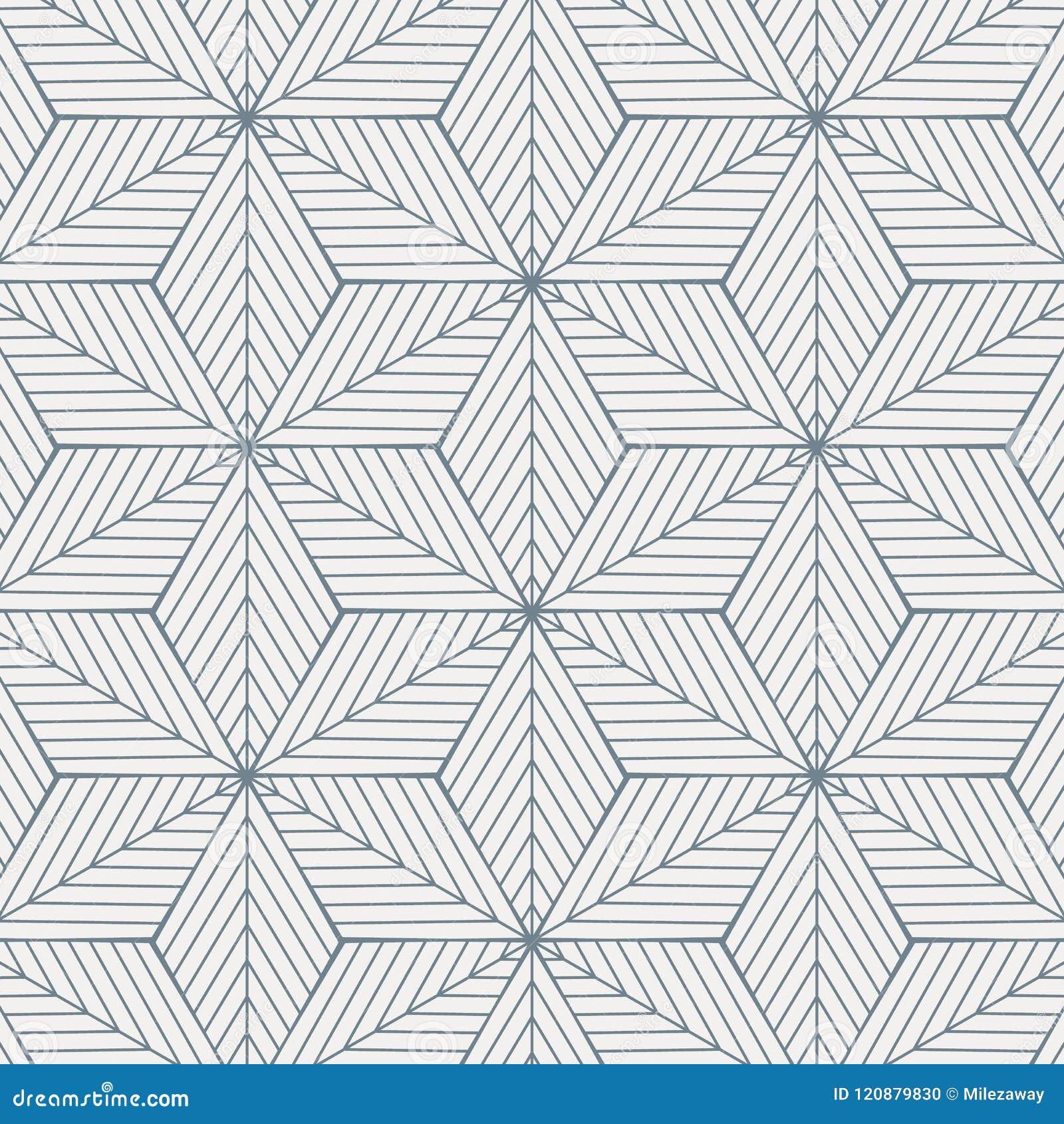Das geometrische Vektormuster, linearen diagonalen Winkel auf Rautenform wiederholend schloss jedes, Zusammenfassungsstern, Blume