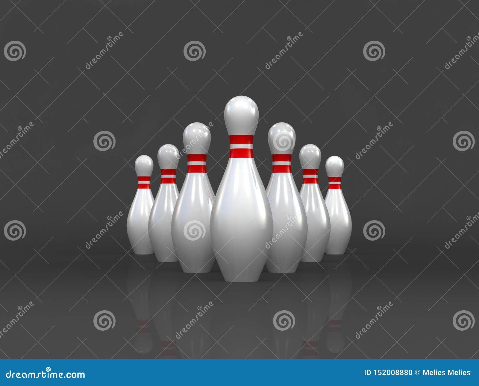 Das Geschäftsführungskonzept, das auf dunklem Hintergrund, Bowlingspielspiel, 3D die Wiedergabe, jetzt anstellend lokalisiert wir