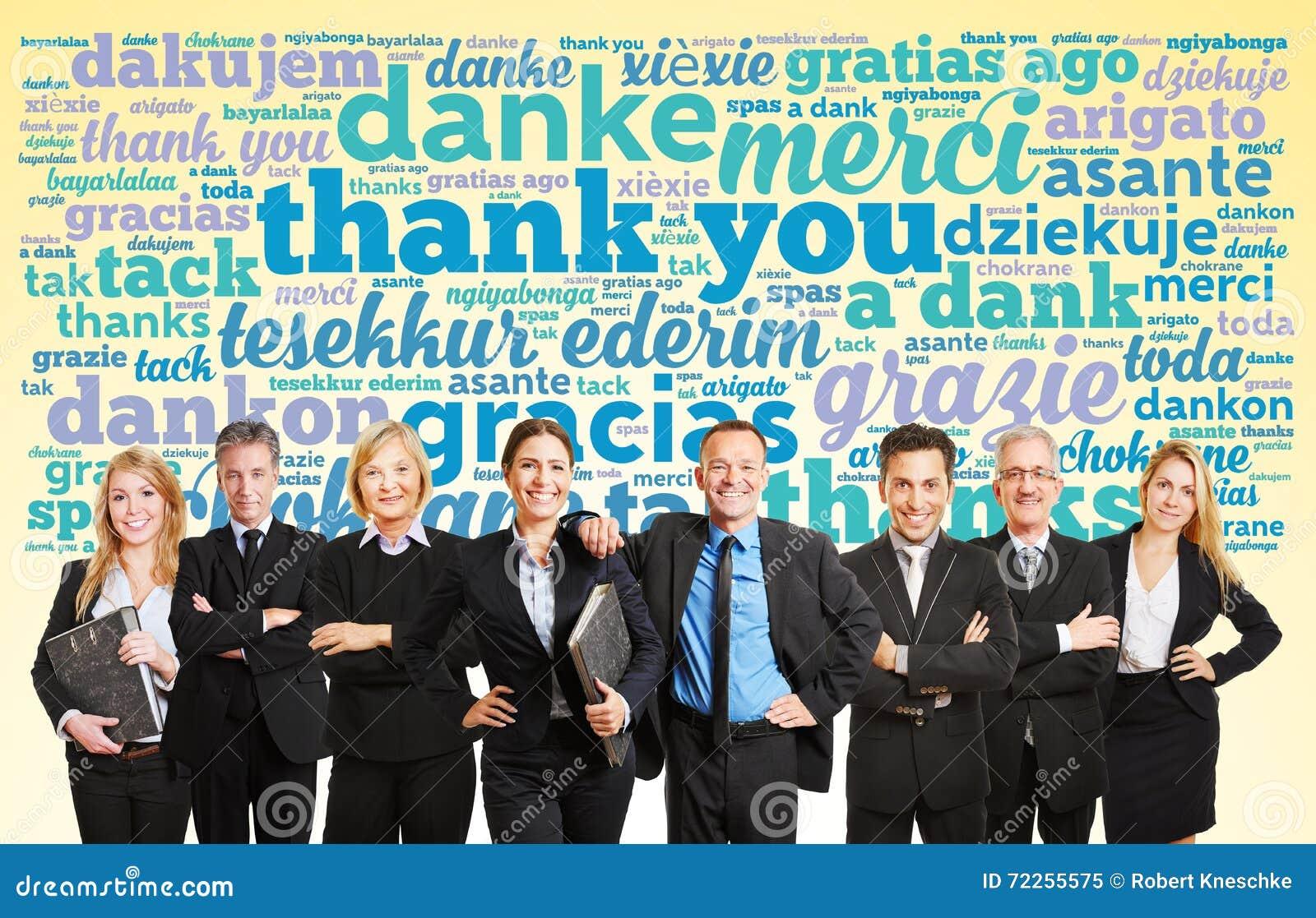 Das Geschäftsteamsagen danken Ihnen